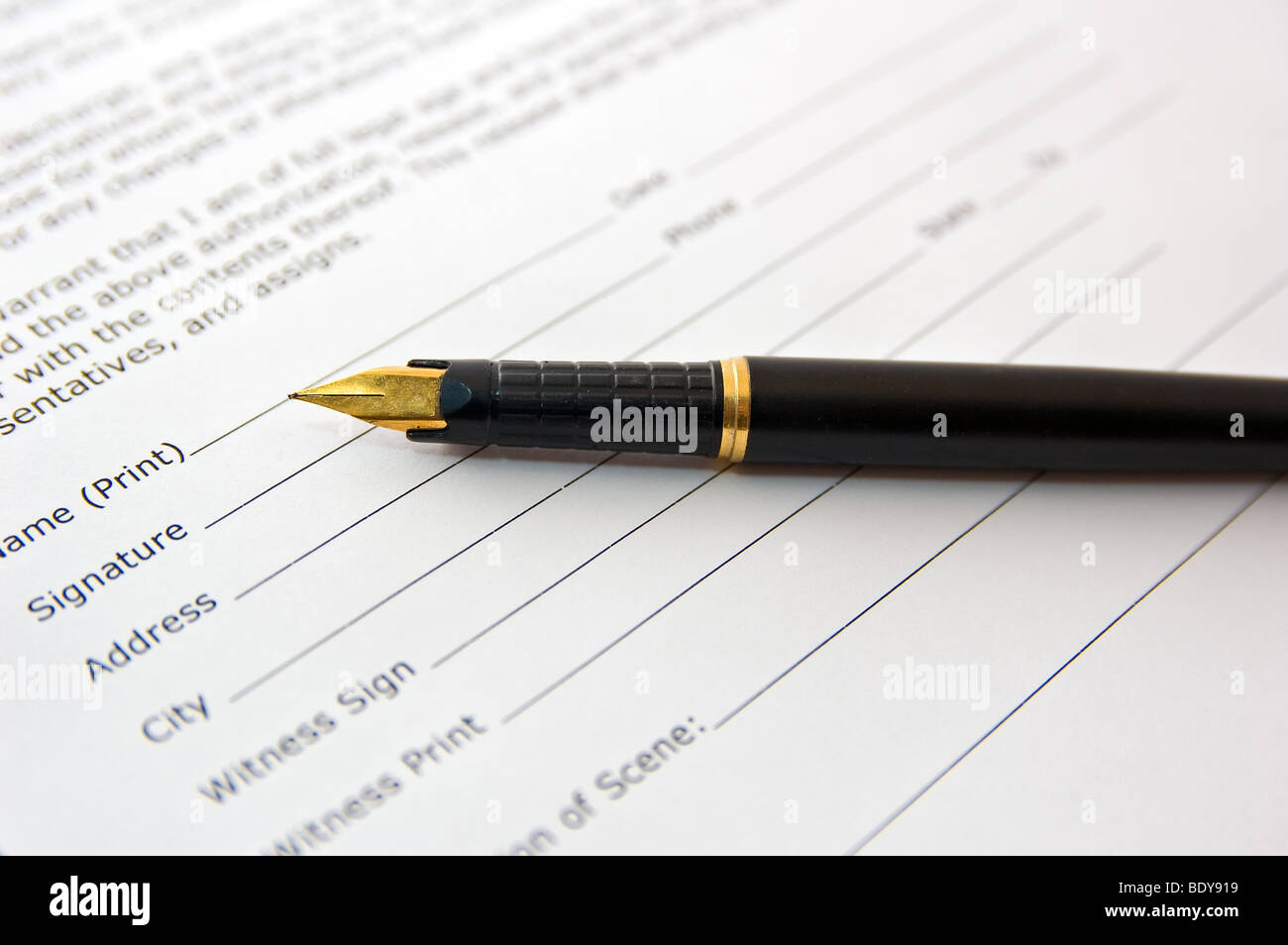 pen on agreement paper business concept - Stock Image