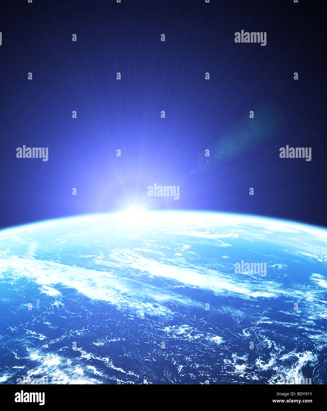 Earth as seen from outer space with sunrise - Stock Image
