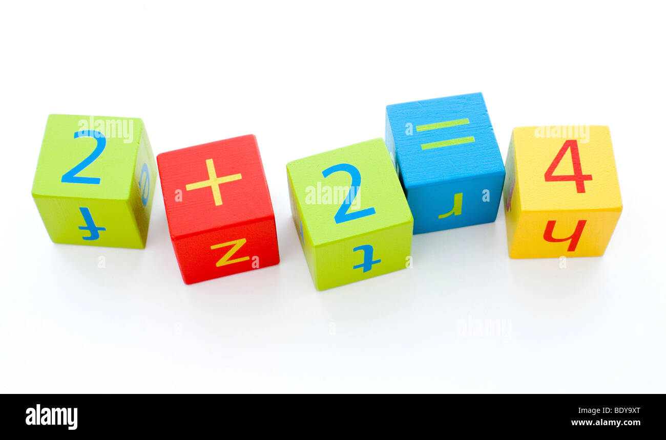 Child's building blocks showing a correct sum - Stock Image