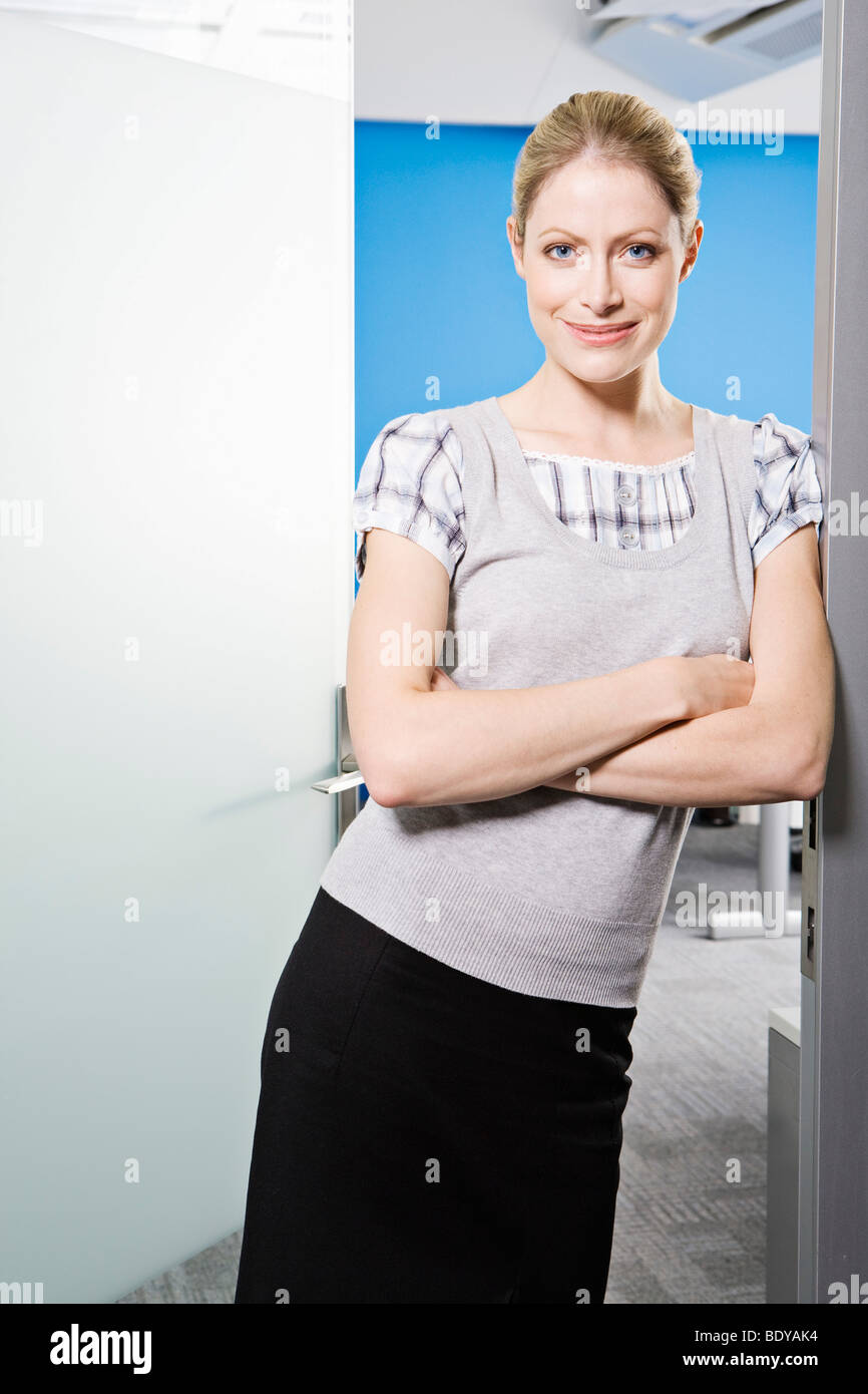 A portrait of Caucasian female smiling - Stock Image