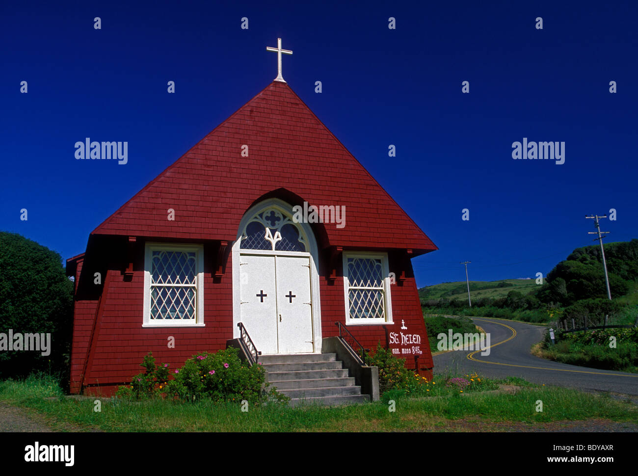St Helen Catholic Church in town of Marshall in Marin County California United States North America - Stock Image
