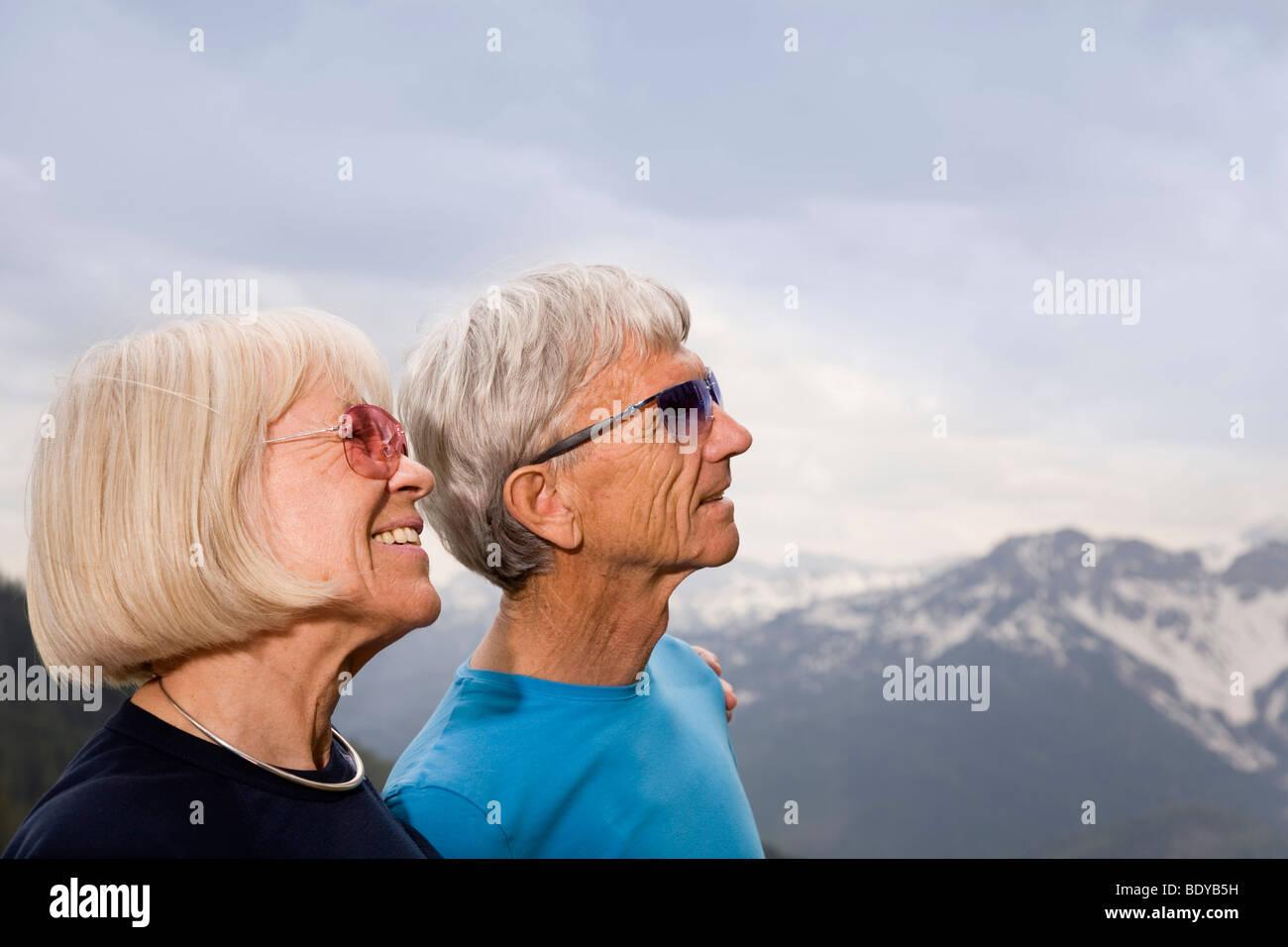 senior couple in mountains Stock Photo
