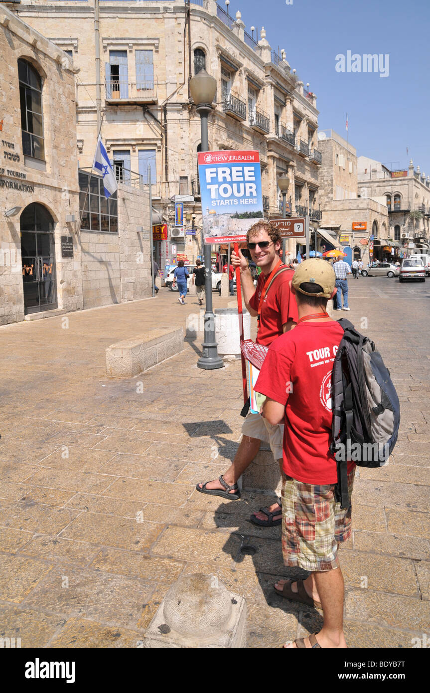 Israel, Jerusalem, Old City, tourist guides offering Free tours of the city - Stock Image