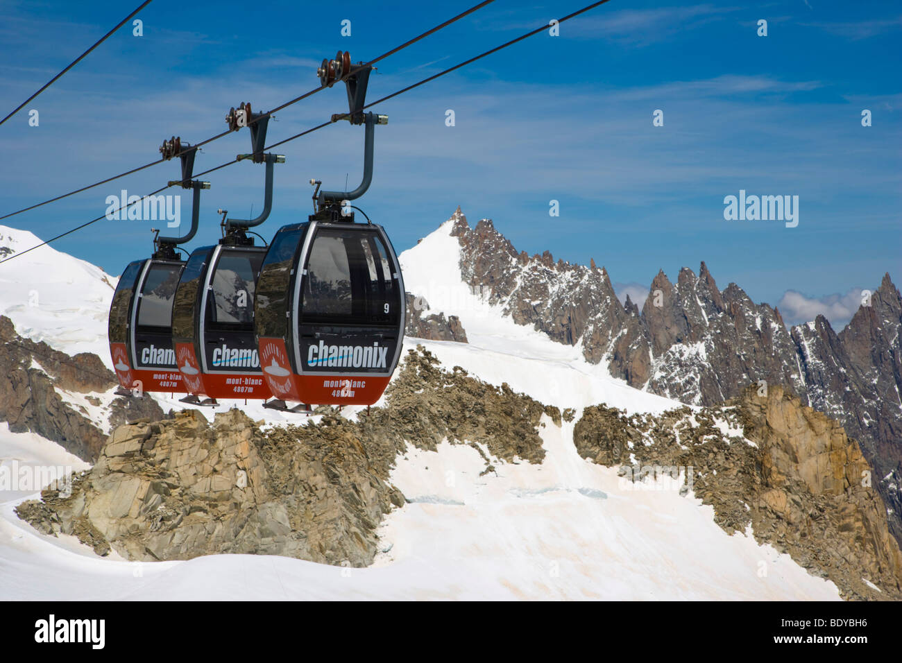 Cable cars between Aiguille du Midi and Punta Helbronner, Funivie Monte Bianco, Mont Blanc Funicular, Mont Blanc - Stock Image