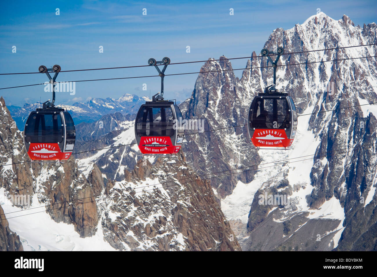 Cable car between Aiguille du Midi and Punta Helbronner, Funivie Monte Bianco, Mont Blanc Funicular, Vallee Blanche - Stock Image