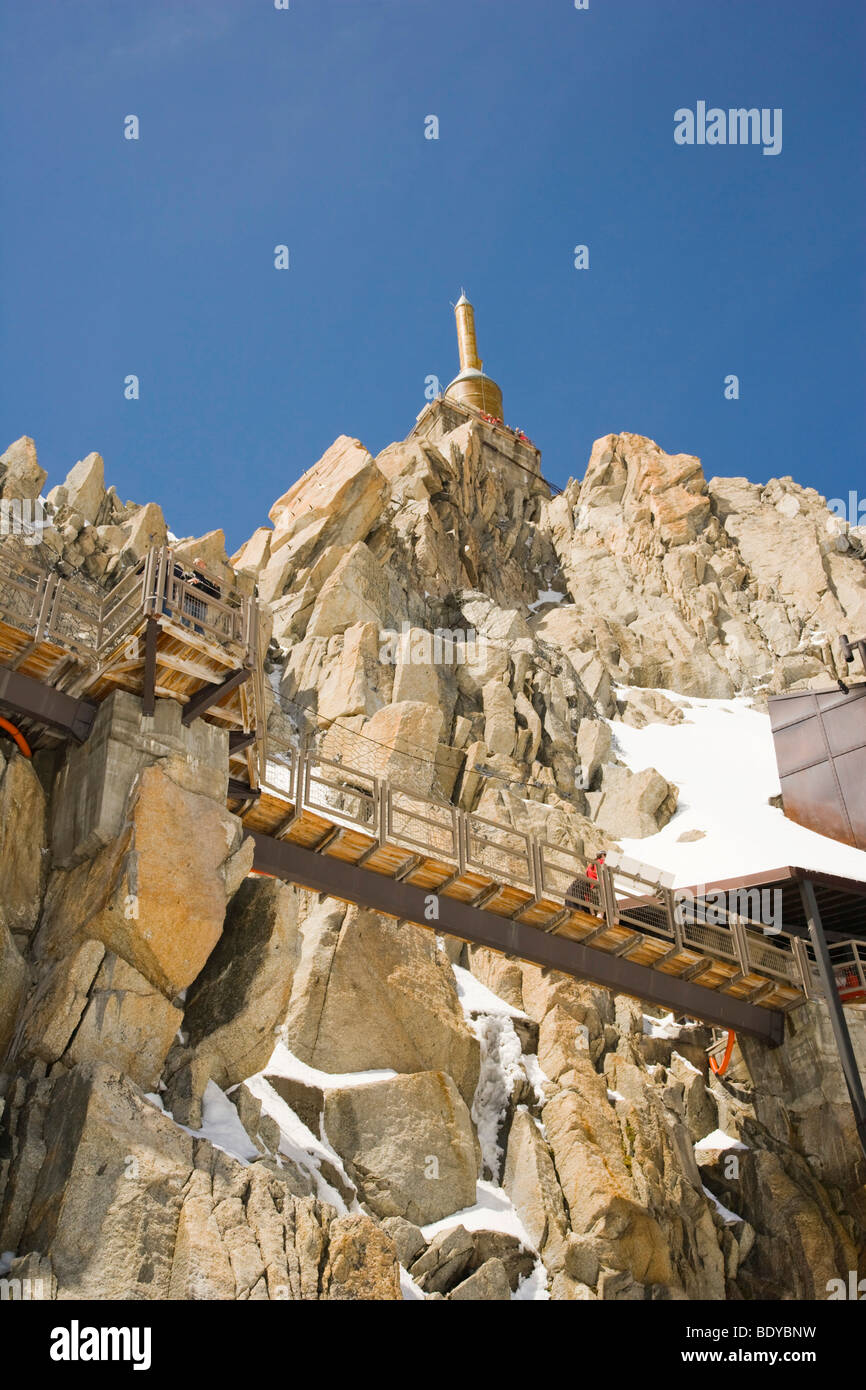 Lower terrace and summit tower at the top of the Aiguille Du Midi, Chamonix, Mont Blanc Massif, Alps, France, Europe Stock Photo