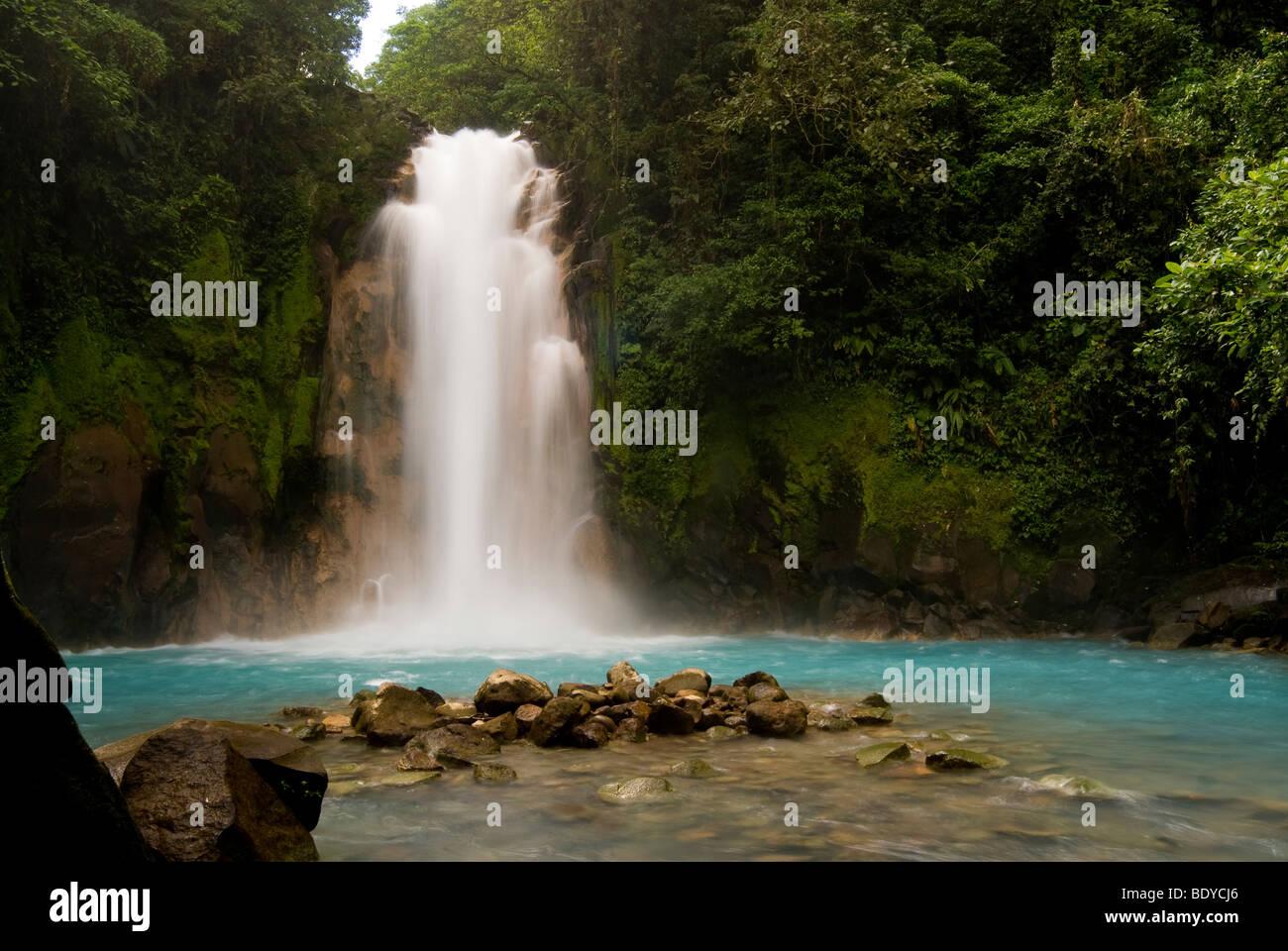 Waterfall at Rio Celeste, Tenorio Volcano National Park, Costa Rica. - Stock Image