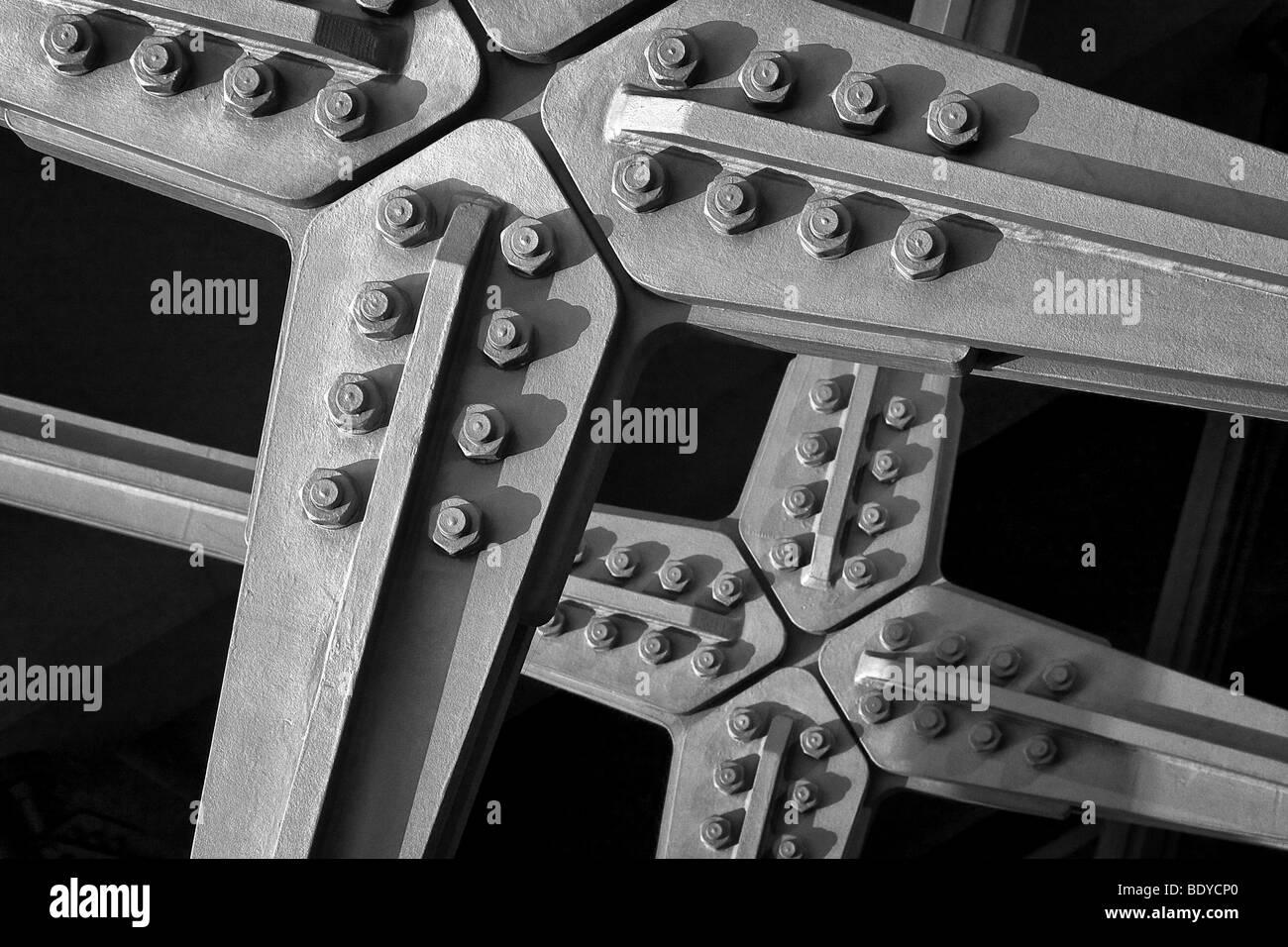 Steel beams screwed on a bridge construction - Stock Image