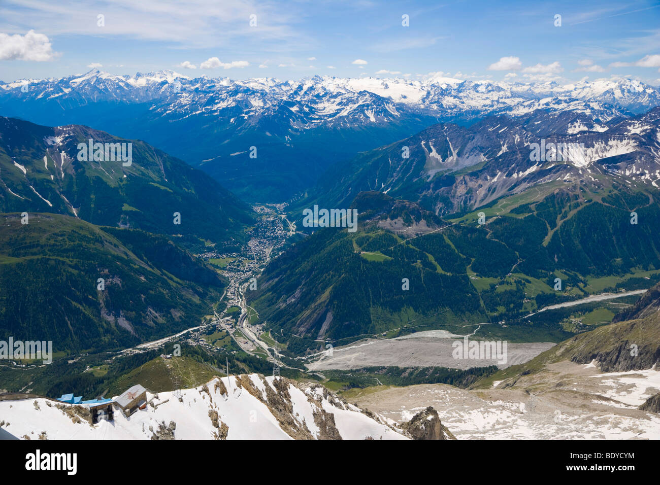 Aosta Valley, Valle d'Aosta, Val Ferret, Val Veny, Brenva Glacier from Rifugio Torino, Funivie Monte Bianco, - Stock Image