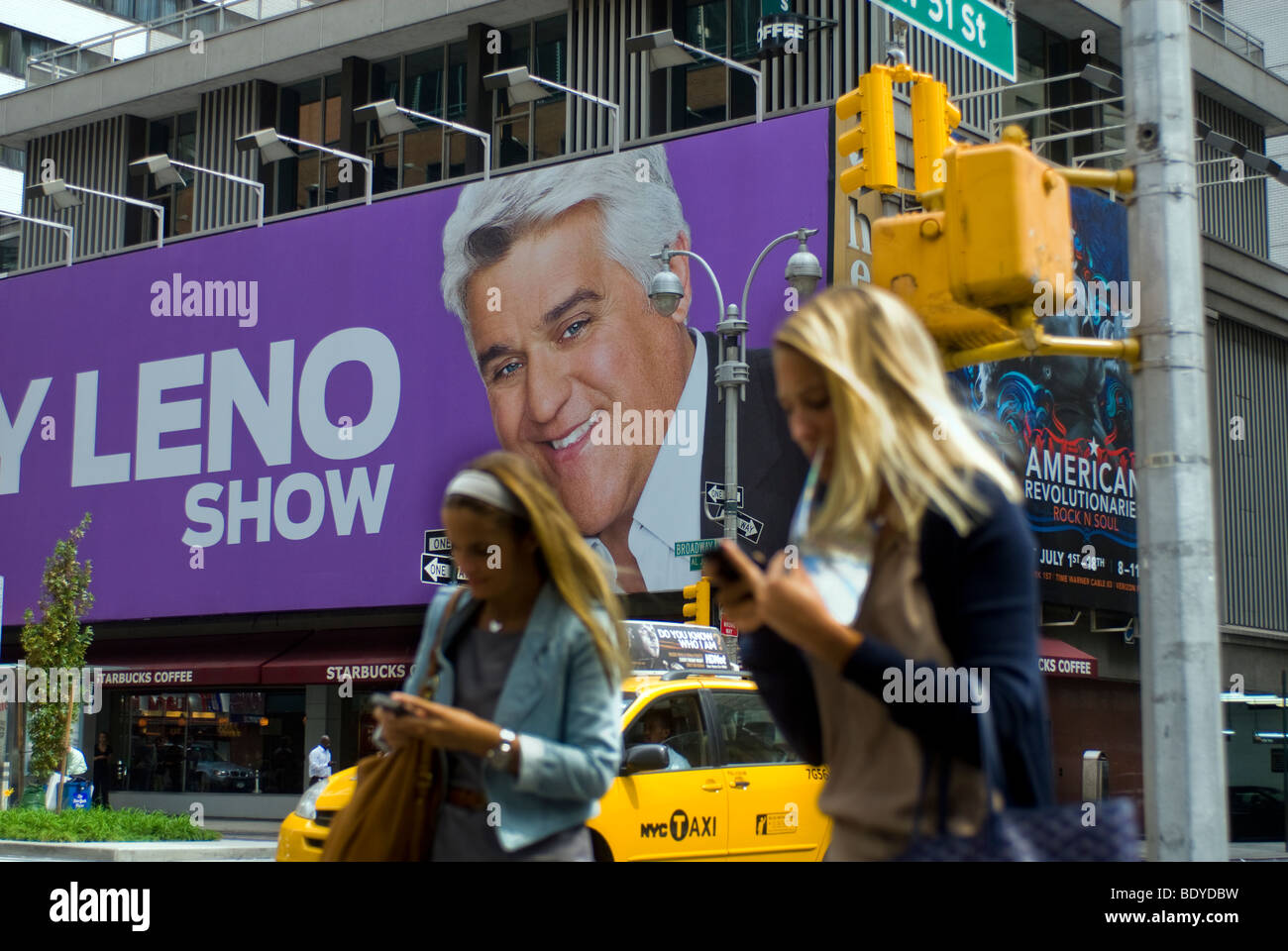Advertising for the NBC television program, The Jay Leno Show on a billboard in Times Square in New York - Stock Image