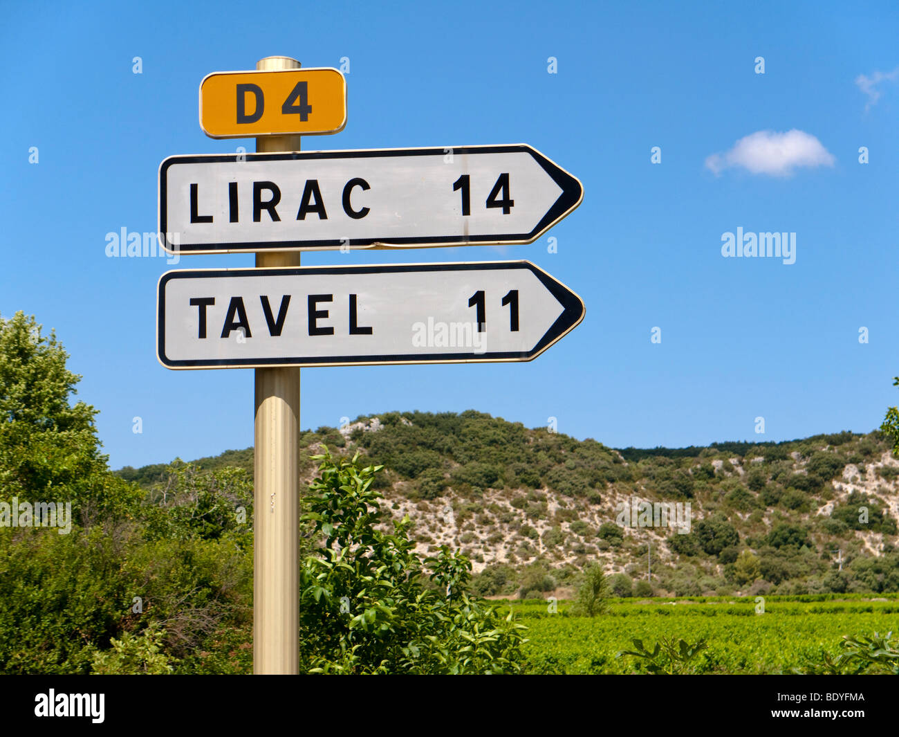 A traffic sign shows the direction to the renowned wine villages of Tavel and Lirac. - Stock Image