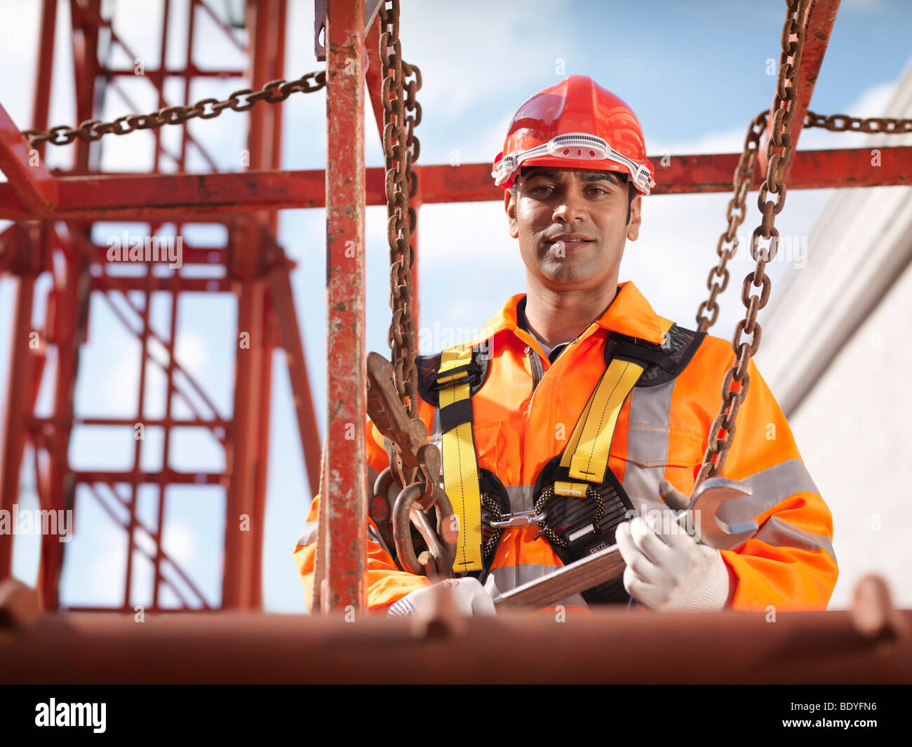 Crane Worker With Spanner - Stock Image