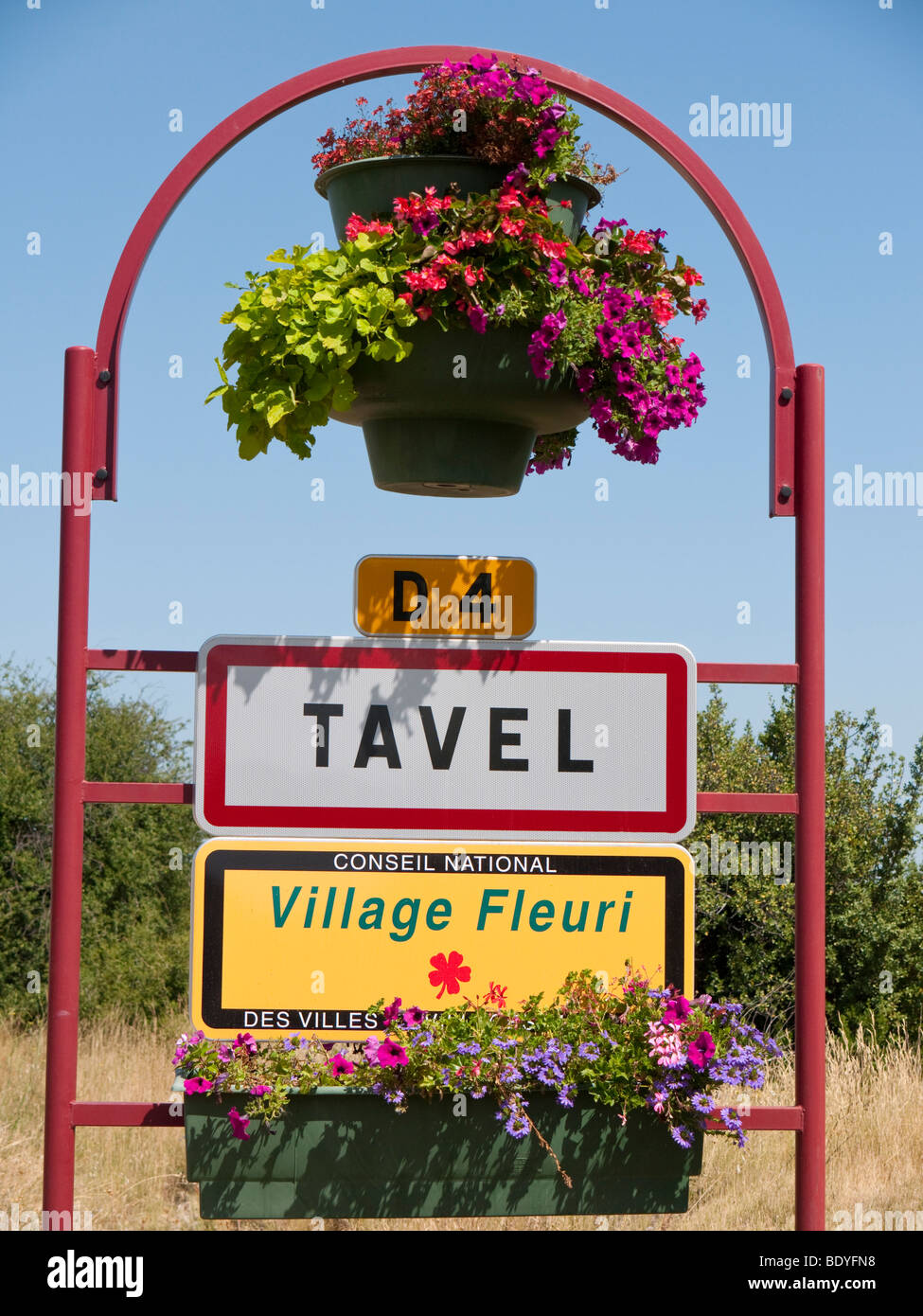 A signboard at the entrance of the renowned rosé wine village of Tavel. - Stock Image