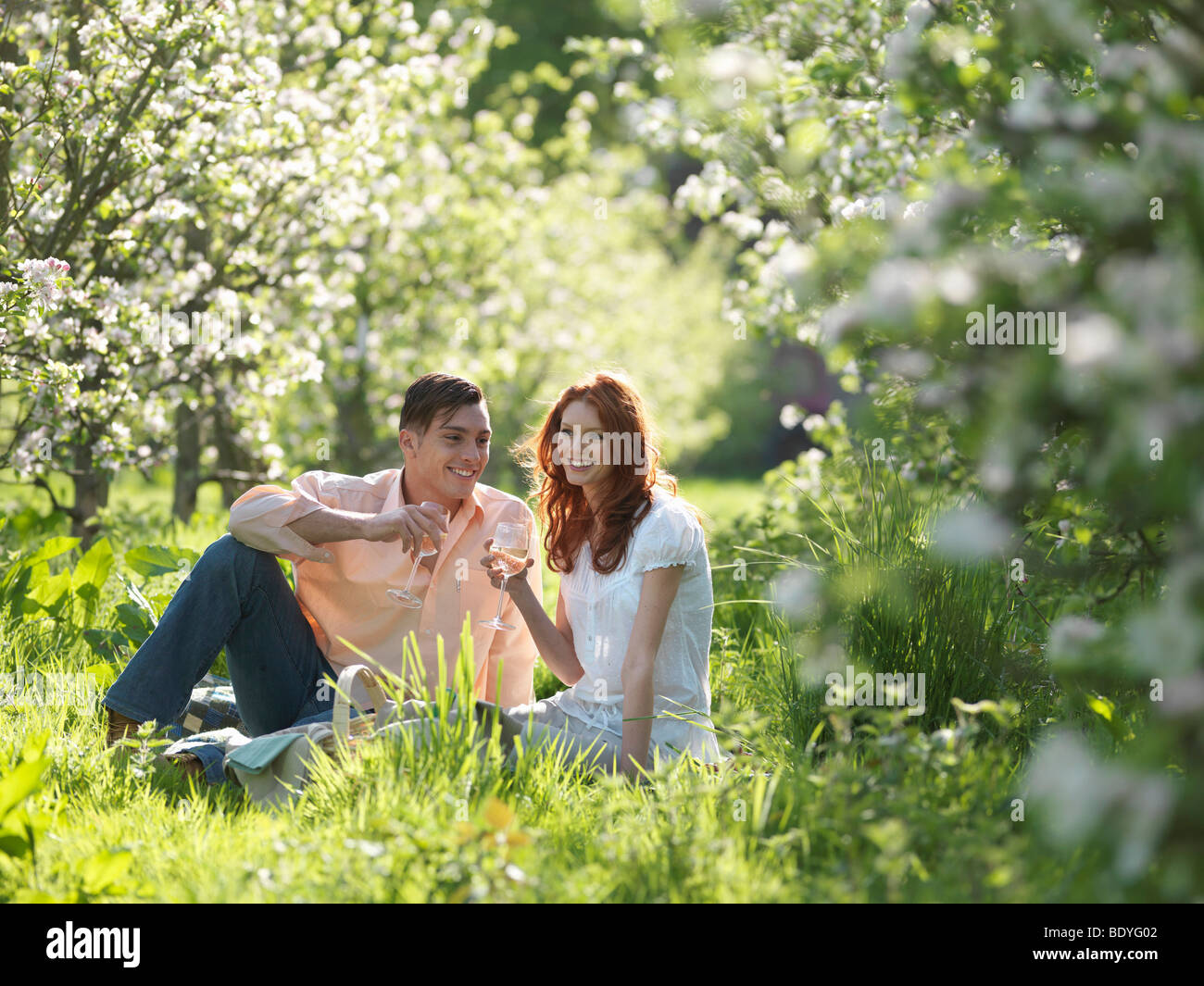 Couple Having Picnic In Orchard - Stock Image