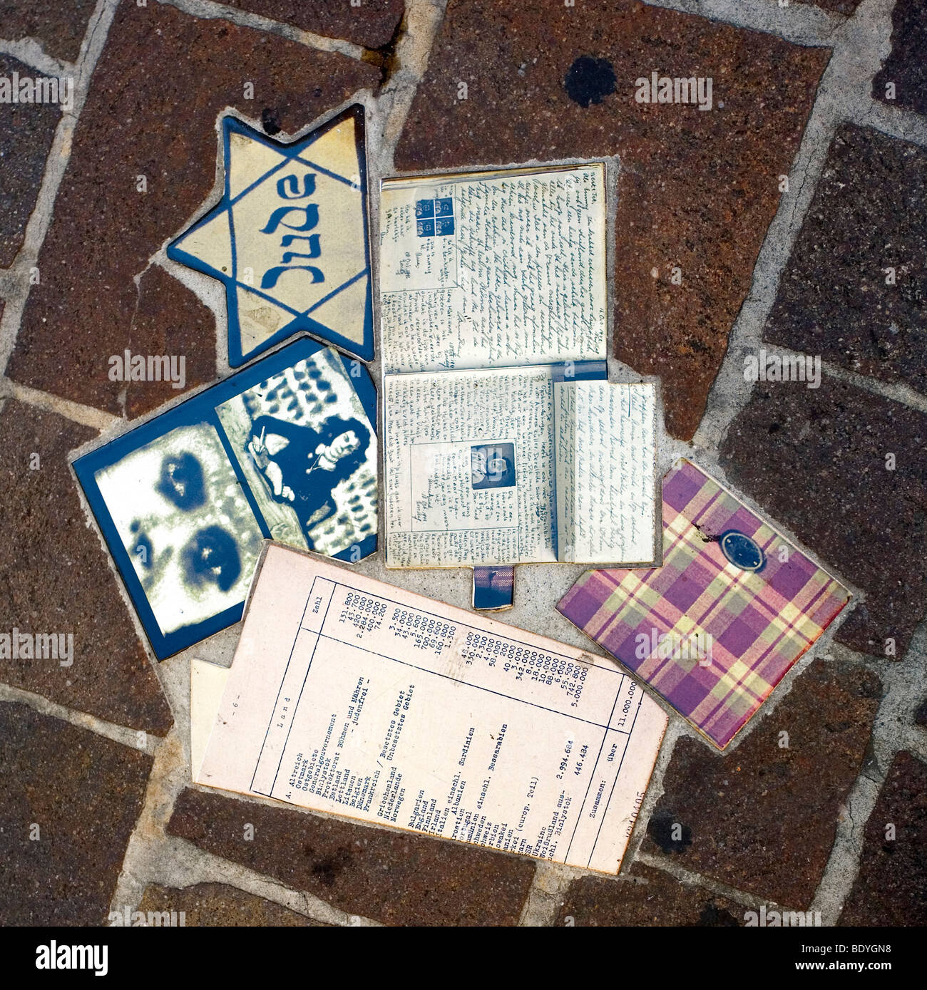 The Anne Frank Holocaust Memorial Collage in the Piazza Del Popolo of the town of Pesaro, Marche, Italy - Stock Image
