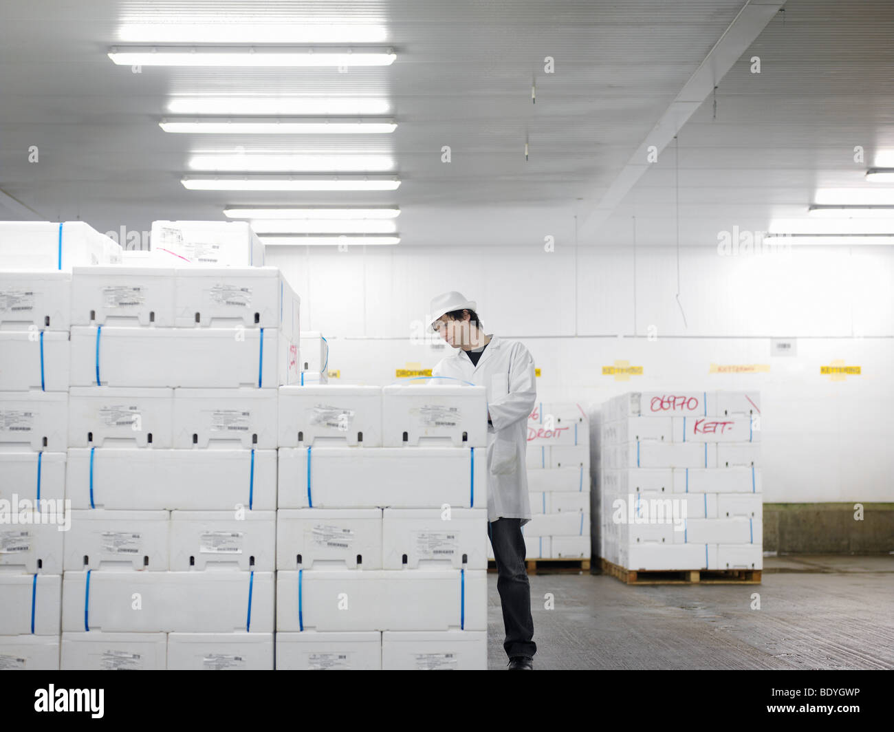 Worker With Packaged Fish In Market Stock Photo