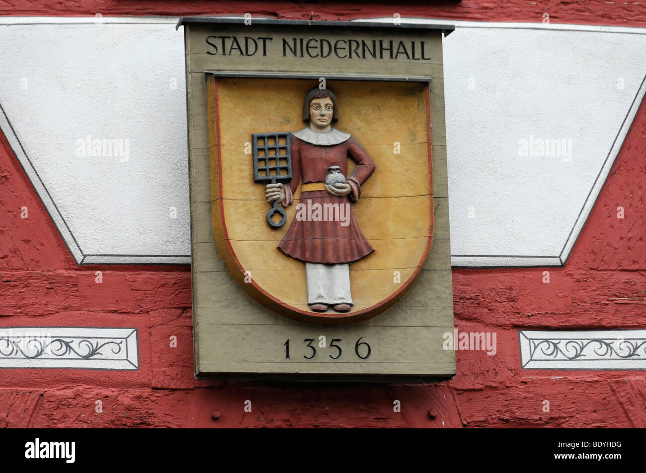 Sign at the Town Hall, Niedernhall, Baden-Wuerttemberg, Germany, Europe - Stock Image