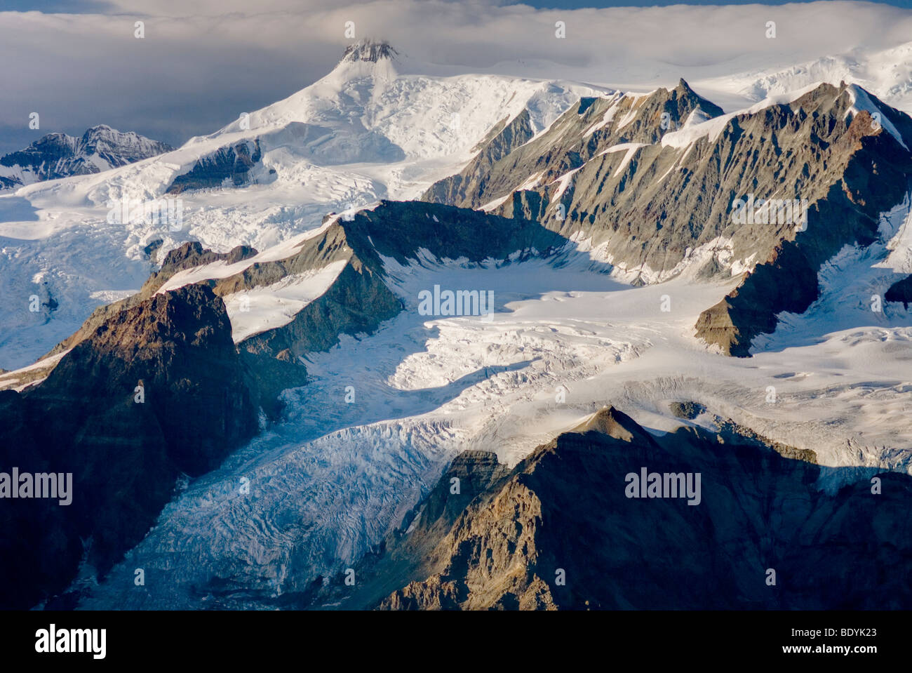 Aerial view of the Mount Blackburn Regal Mountain glacial complex, Wrangell-St. Elias National Park Alaska - Stock Image