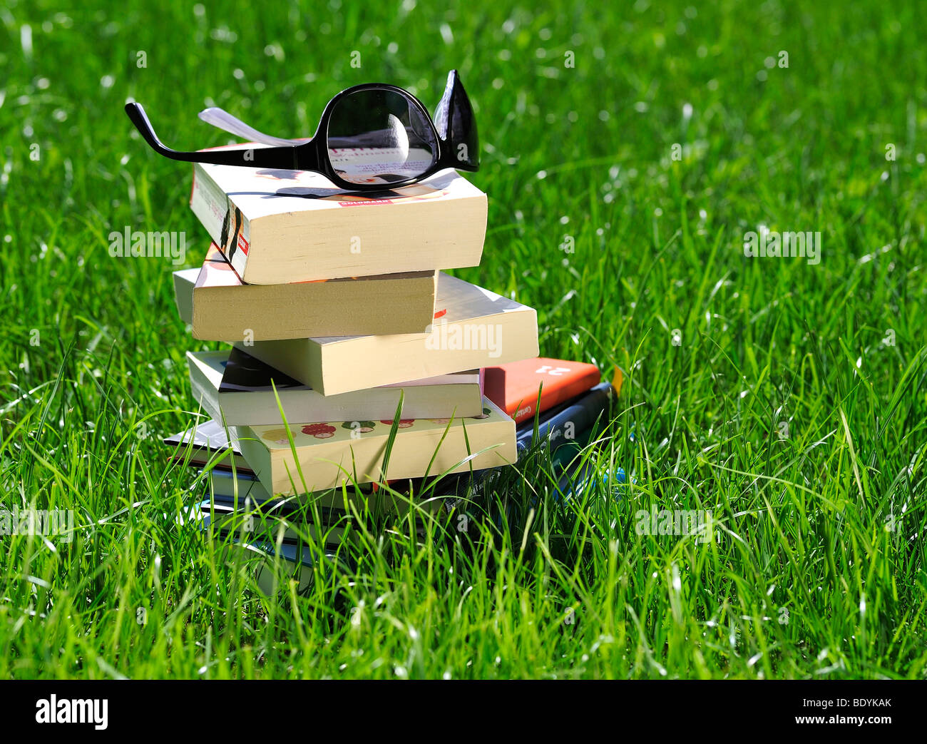 Stacked books and sunglasses on a meadow - Stock Image