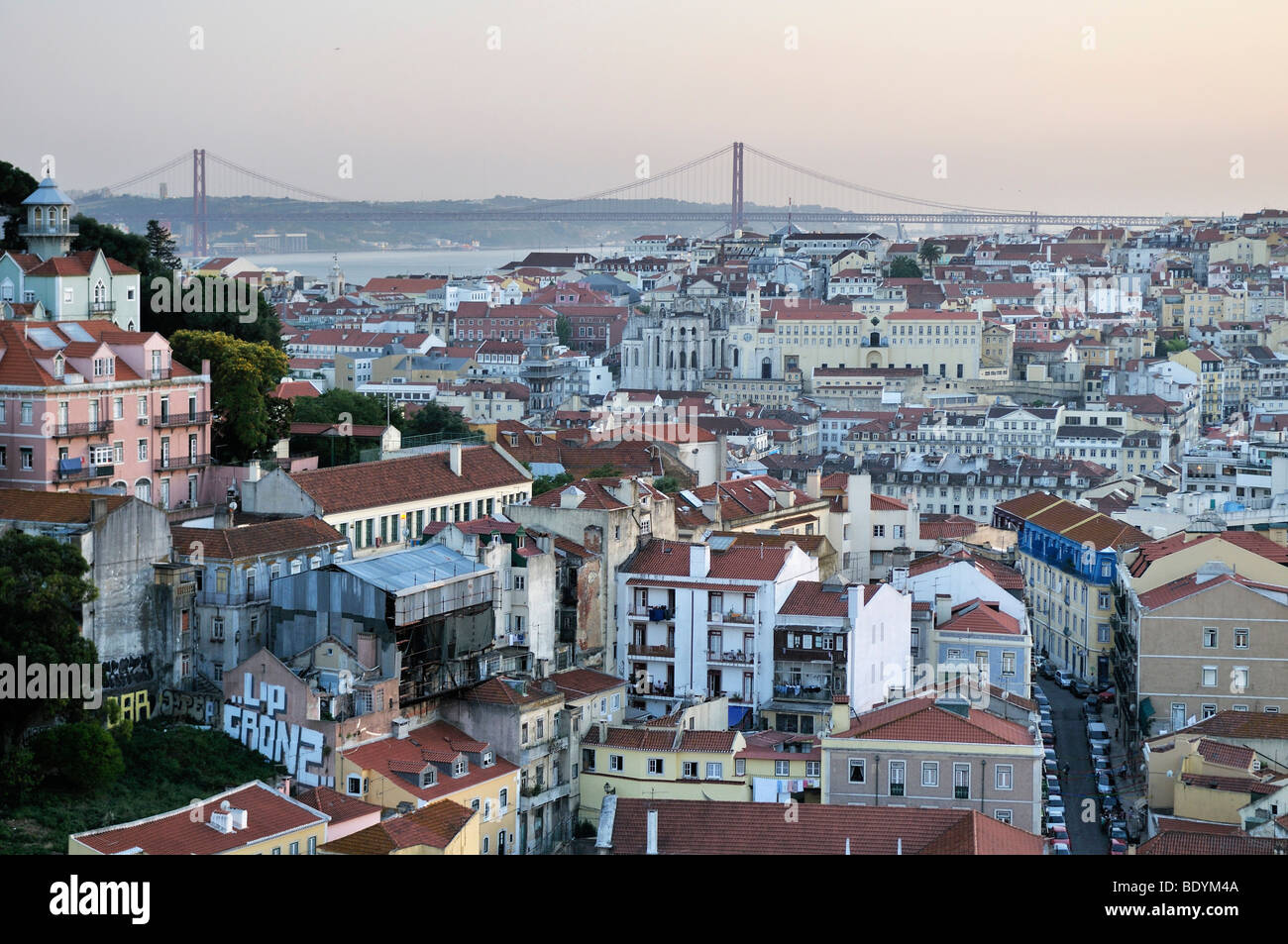 Overlooking the historic city centre of Lisbon and the Tagus River, Portugal, Europe - Stock Image