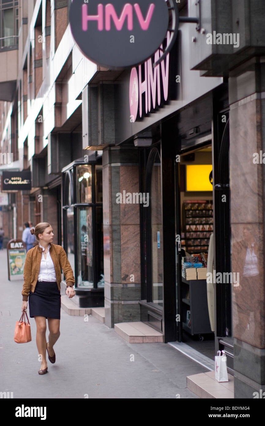 HMV record, dvd, film, cd, music, retail outlet, central london - Stock Image