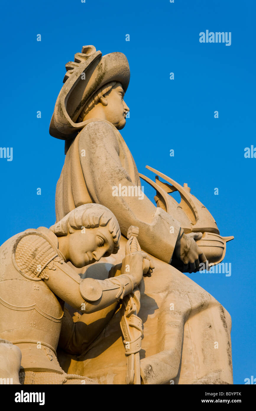 Detail of Monument to the Discoveries, Lisbon, Portugal, Europe - Stock Image