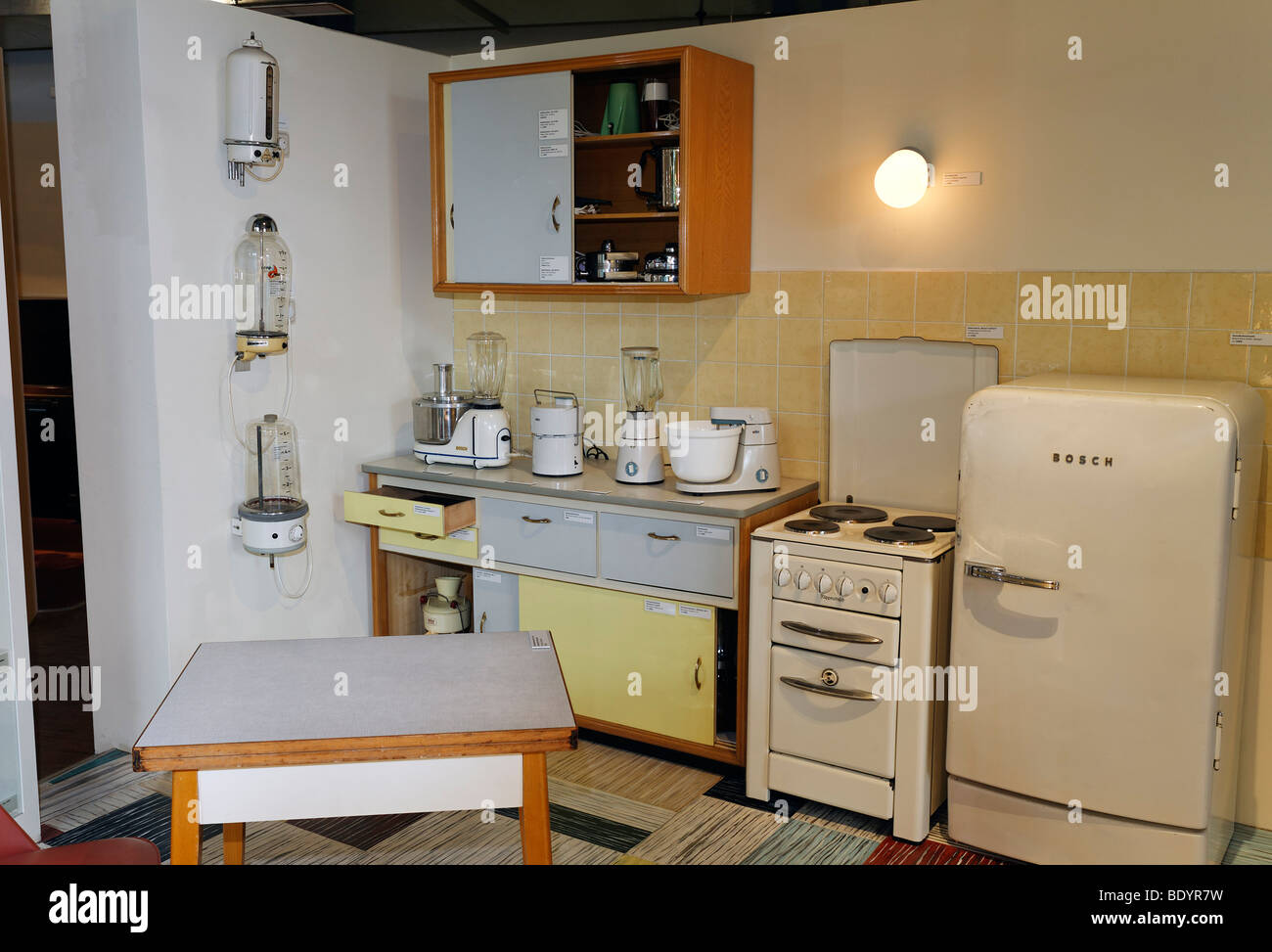 Kitchen and household electrical appliances from the 50s, Power and Life Museum, Recklinghausen substation, Ruhr Stock Photo