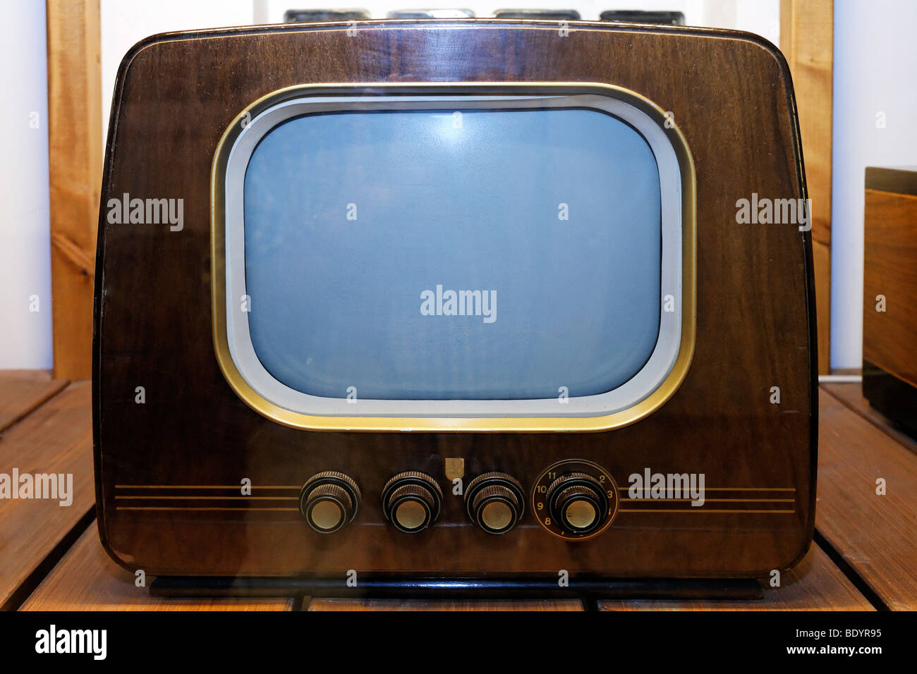 small black and white tv from the 50s philips brand power and life