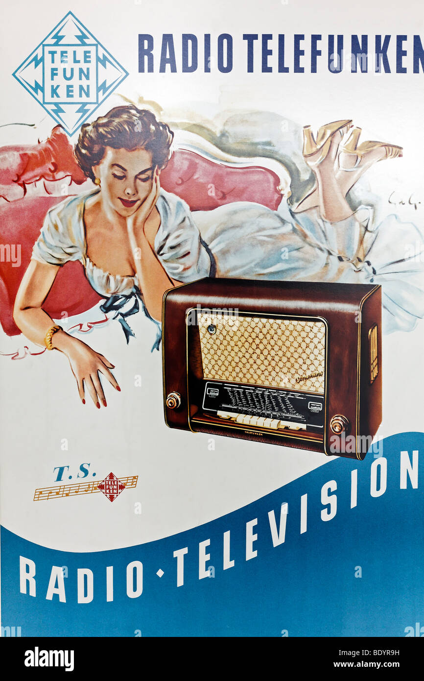 Promotional poster for Radio Telefunken from the 50s, Power and Life Museum, Recklinghausen substation, Ruhr area, - Stock Image
