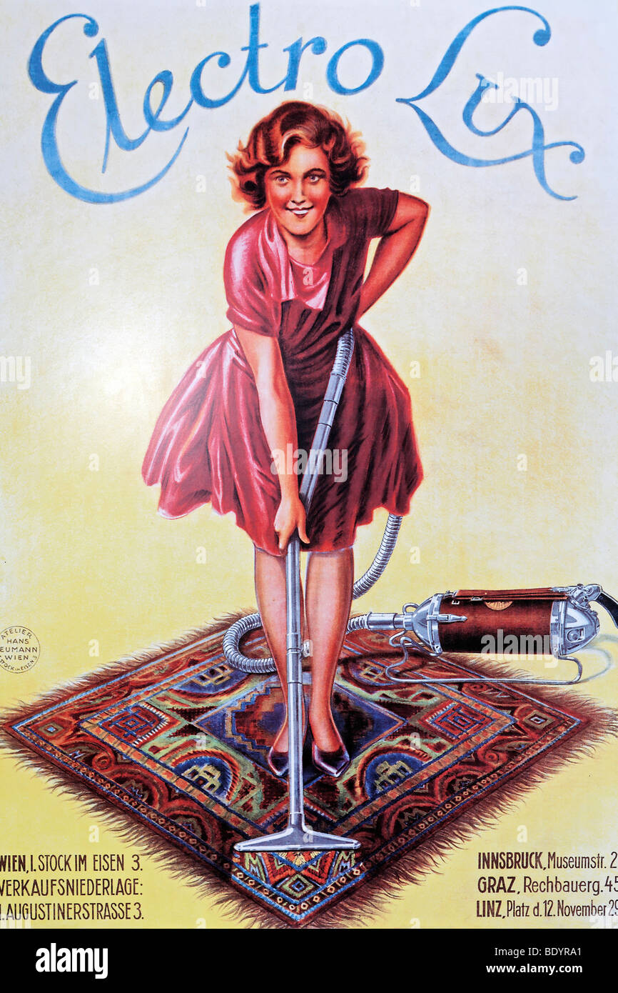 Woman vacuuming a carpet, Austrian advertising poster from the 50s for Electrolux vacuum cleaners, Power and Life - Stock Image