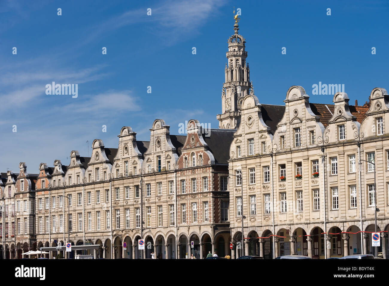 Public houses and Town Hall Tower, Grand Place, Arras, Nord Pas-de-Calais, Normandy, France, Europe - Stock Image