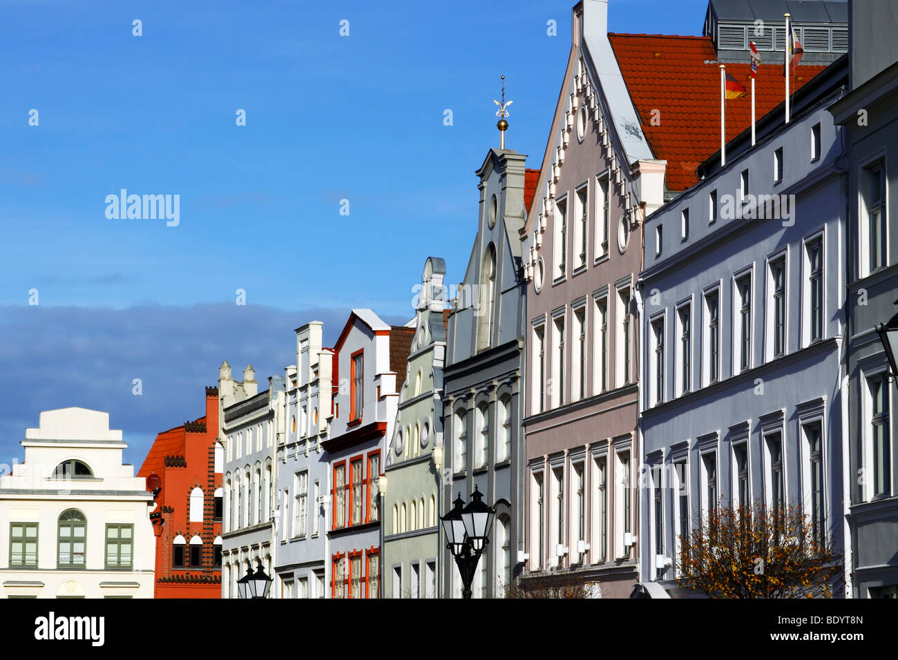 Town houses at market square / Wismar - Stock Image