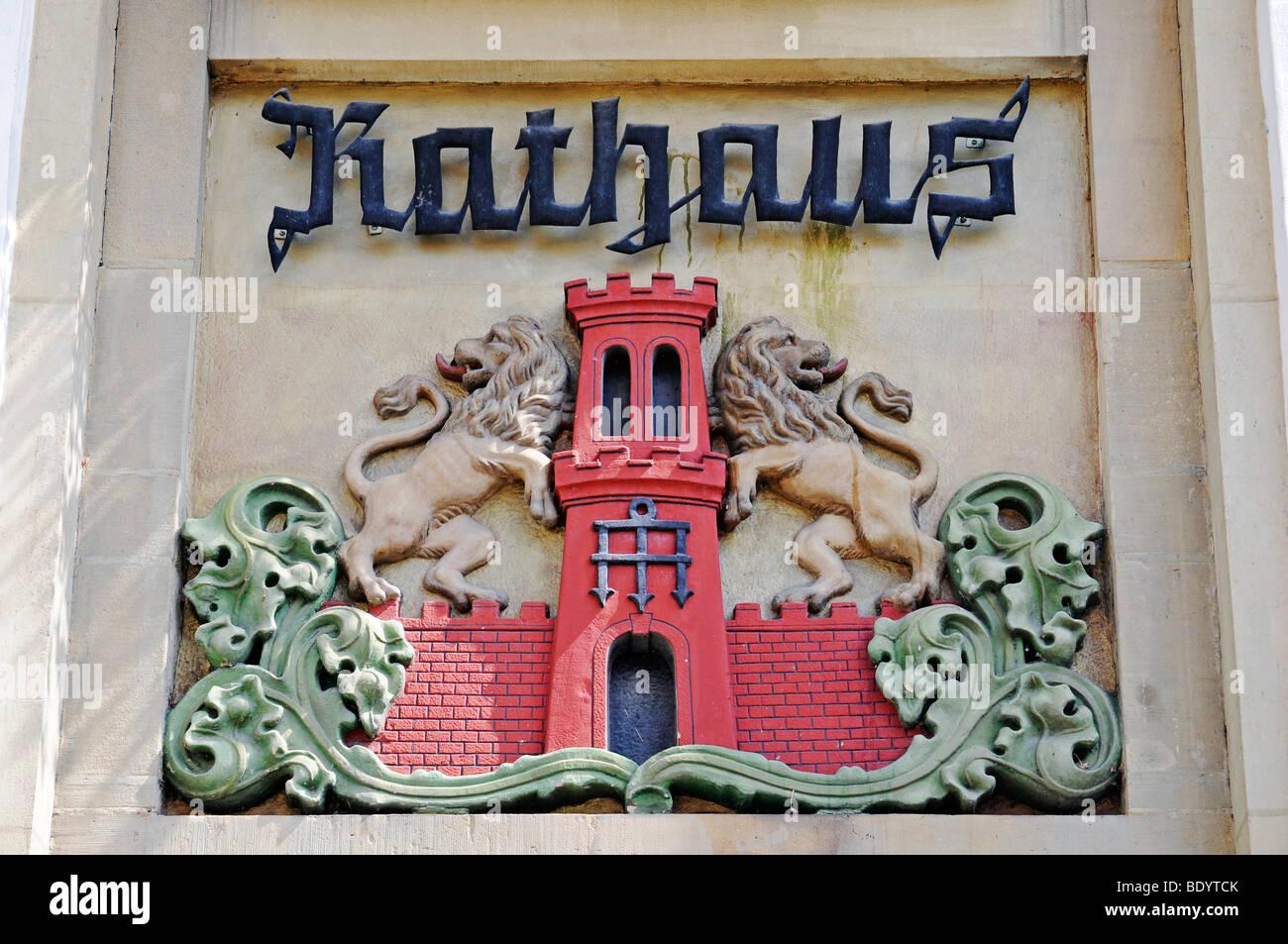 Coat of arms, town hall, historic centre, Warendorf, Muensterland region, North Rhine-Westphalia, Germany, Europe - Stock Image