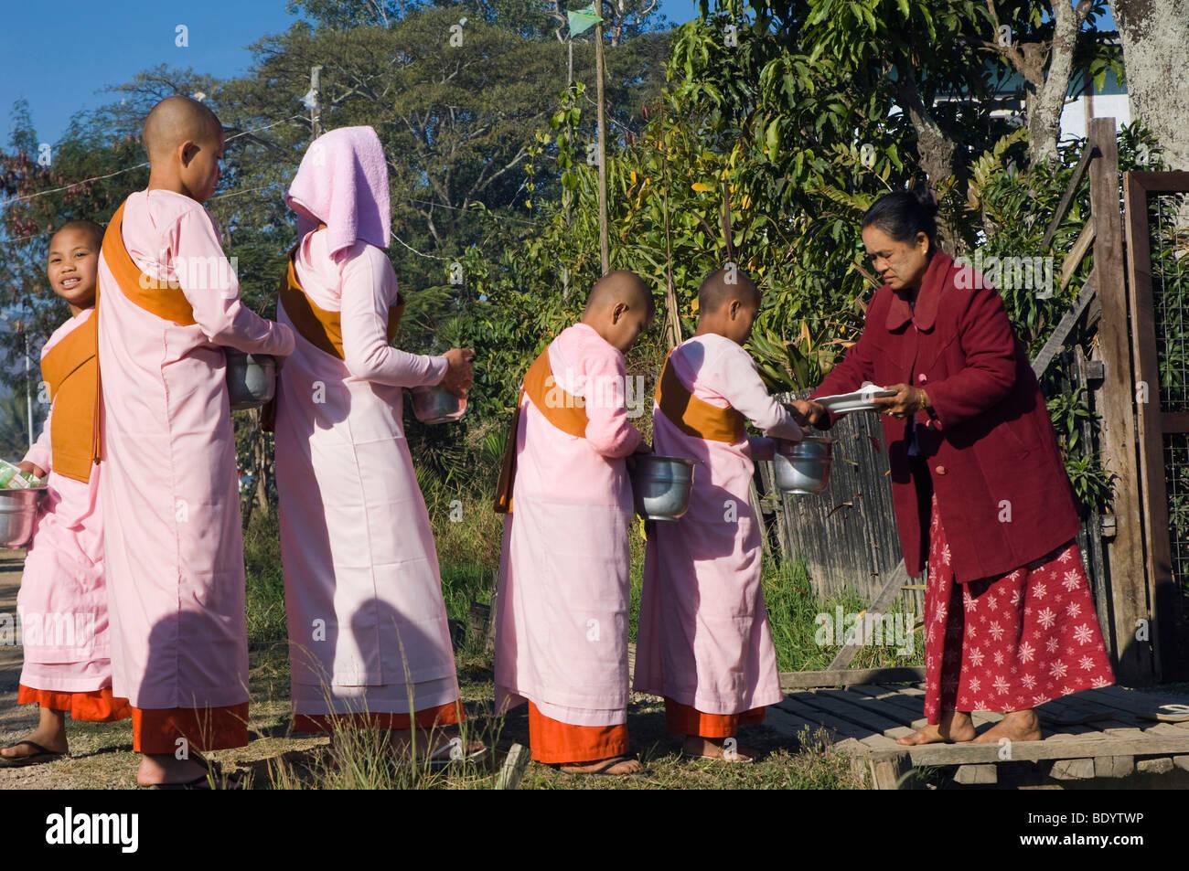 Young nuns begging, Inle Lake, Nyaungshwe, Shan State, Burma, Myanmar, Asia - Stock Image