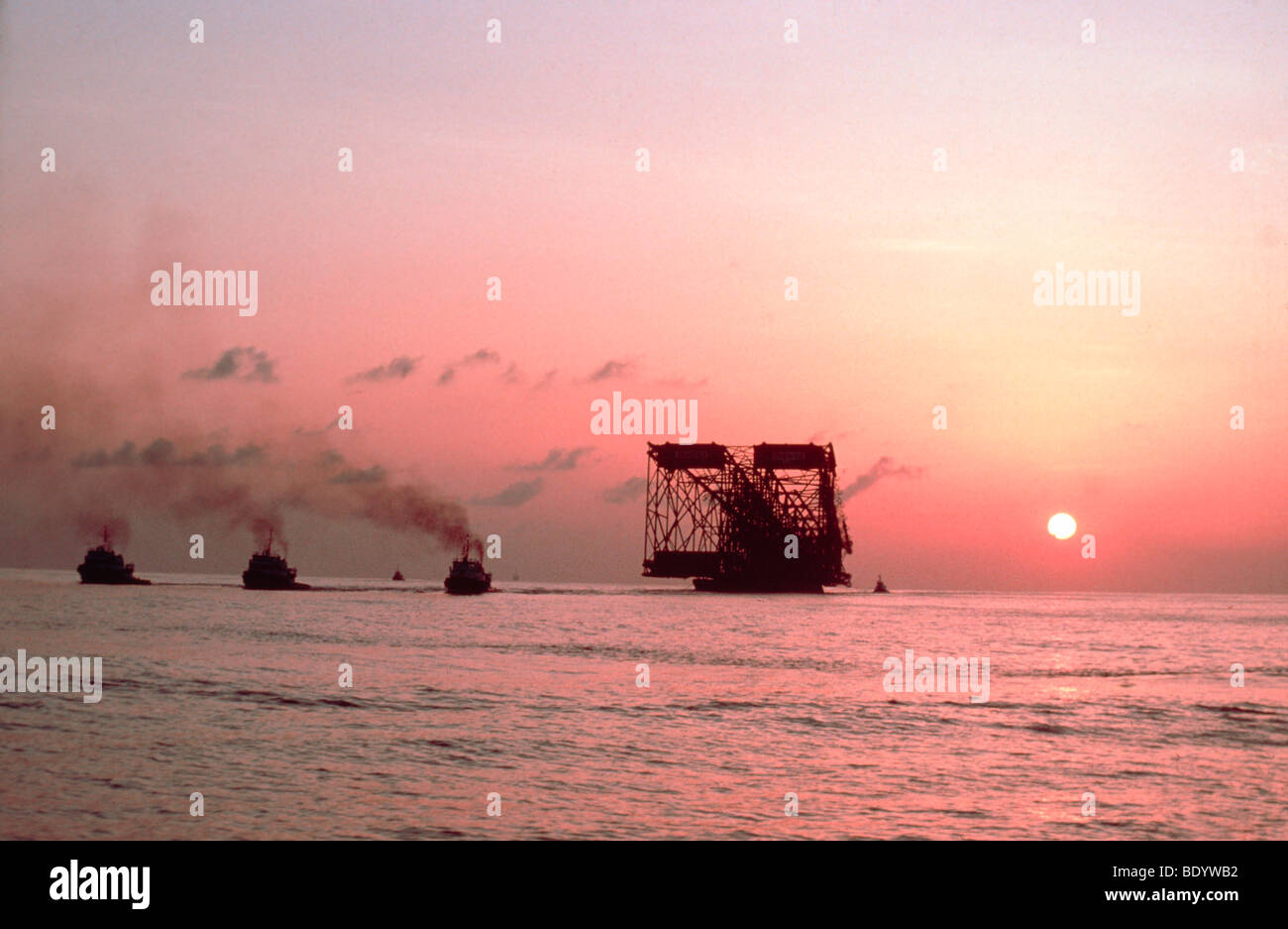Oil Jacket being floated from Louisiana out to the Gulf of Mexico - Stock Image