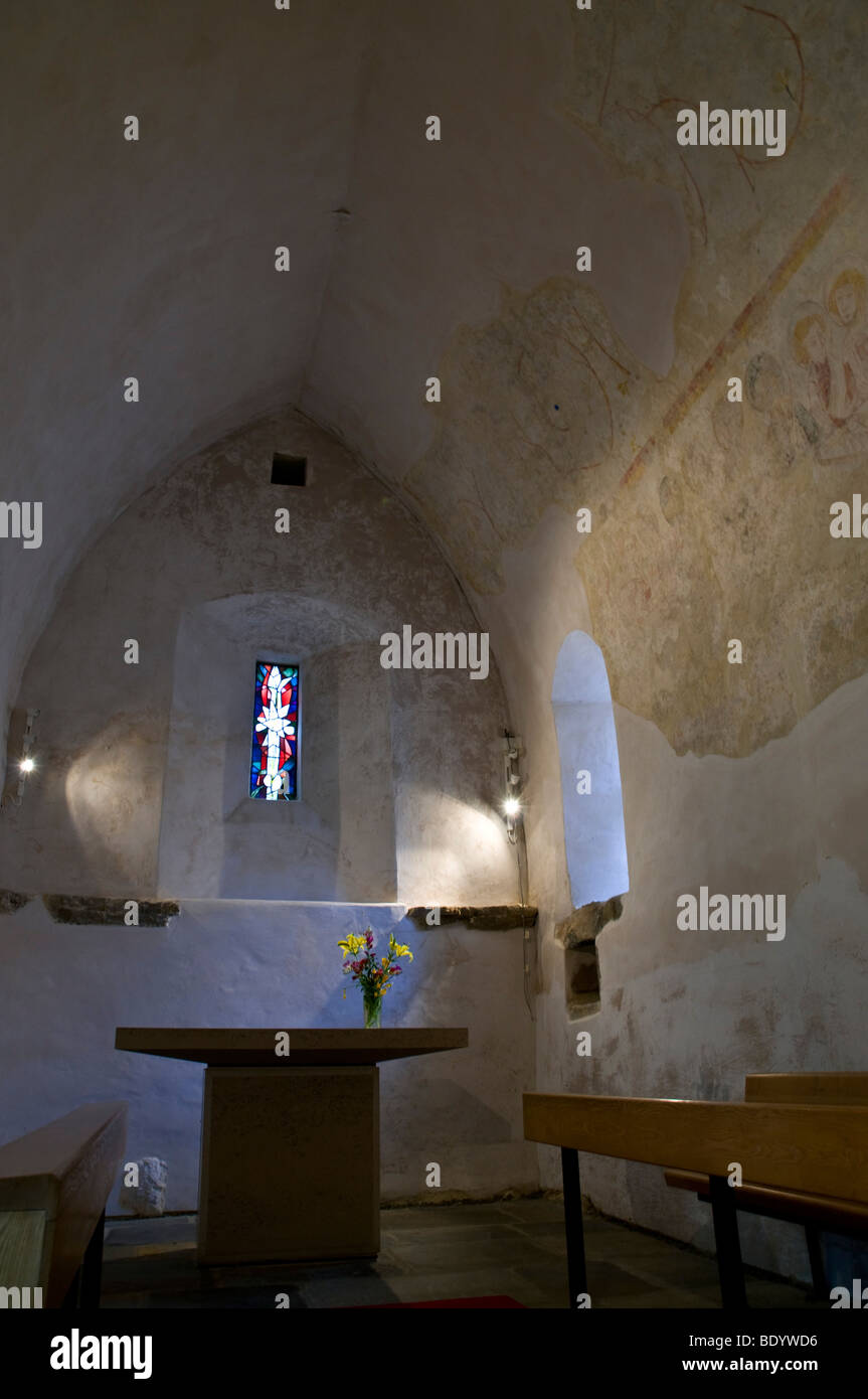 dh Chapelle Ste Apolline ST SAVIOURS GUERNSEY St Apolline 14th century chantry chapel interior church altar Stock Photo