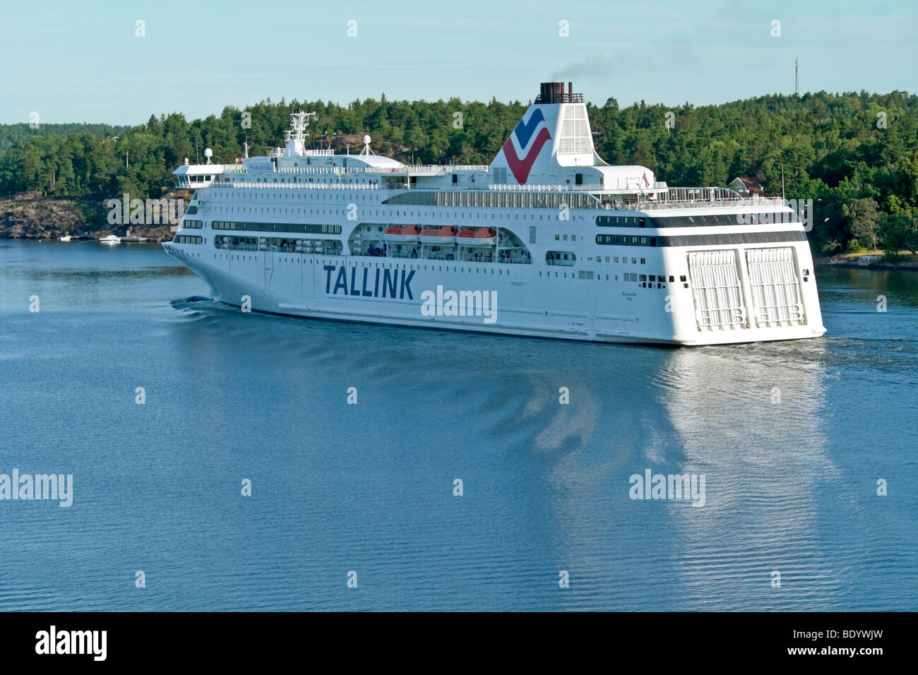 The Tallink Baltic cruise ferry Romantika sails through the Stockholm Archipelago in Sweden en route from Riga - Stock Image