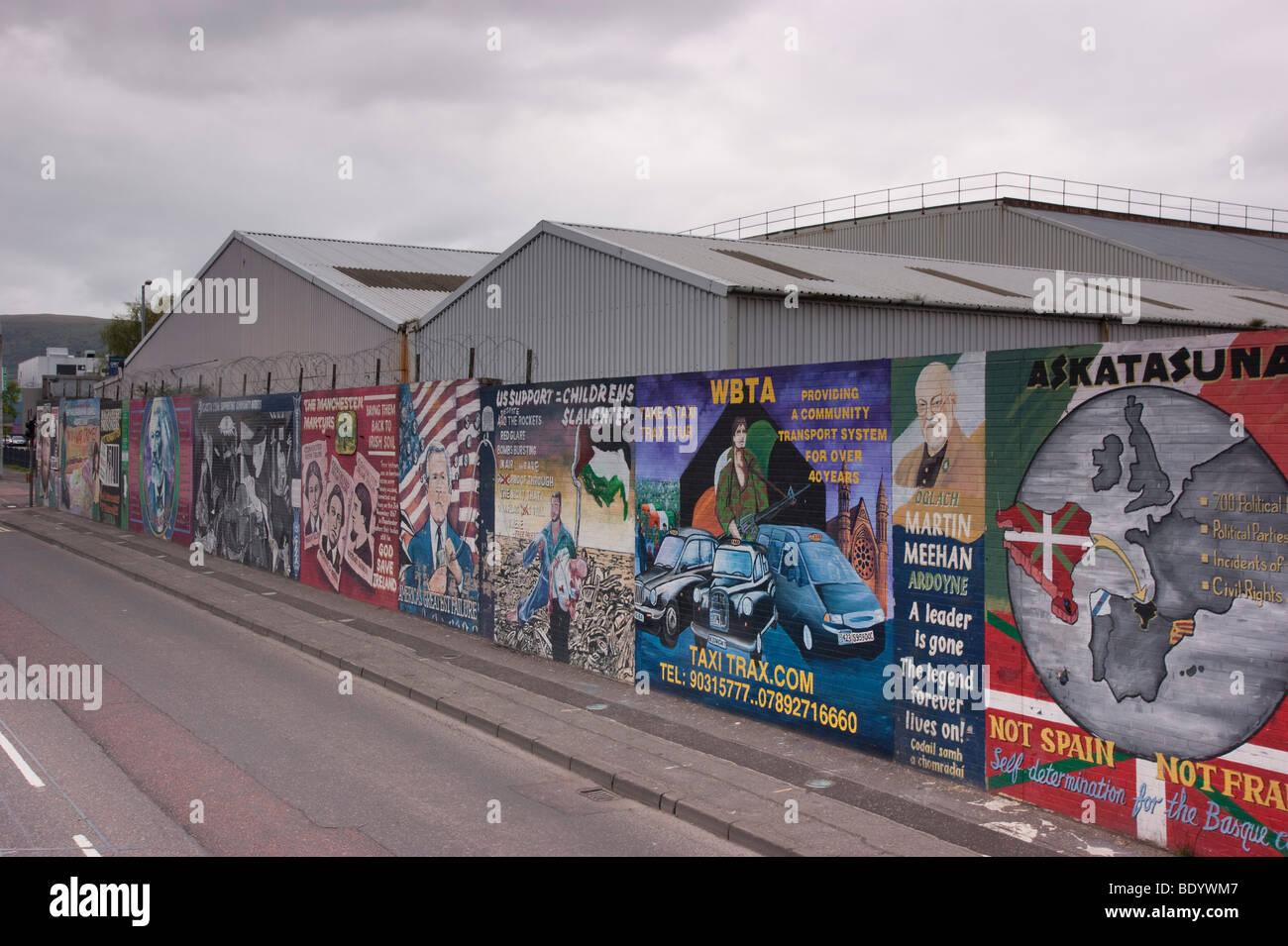 Belfast Ireland 2009 Sinn Fein and other political wall art Museum of Irish Republican History - Stock Image