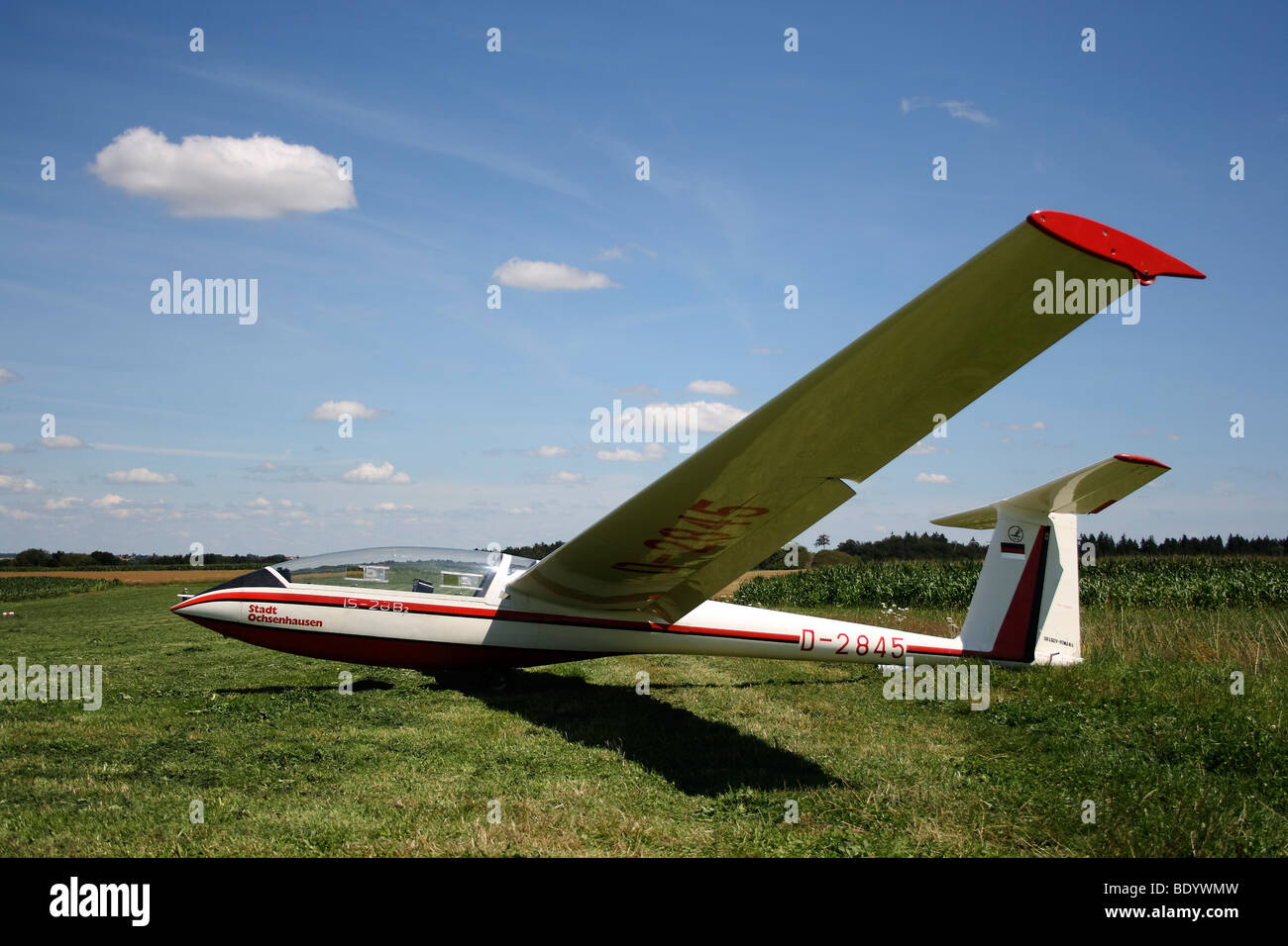 Glider on a mown lawn, ready for take-off - Stock Image