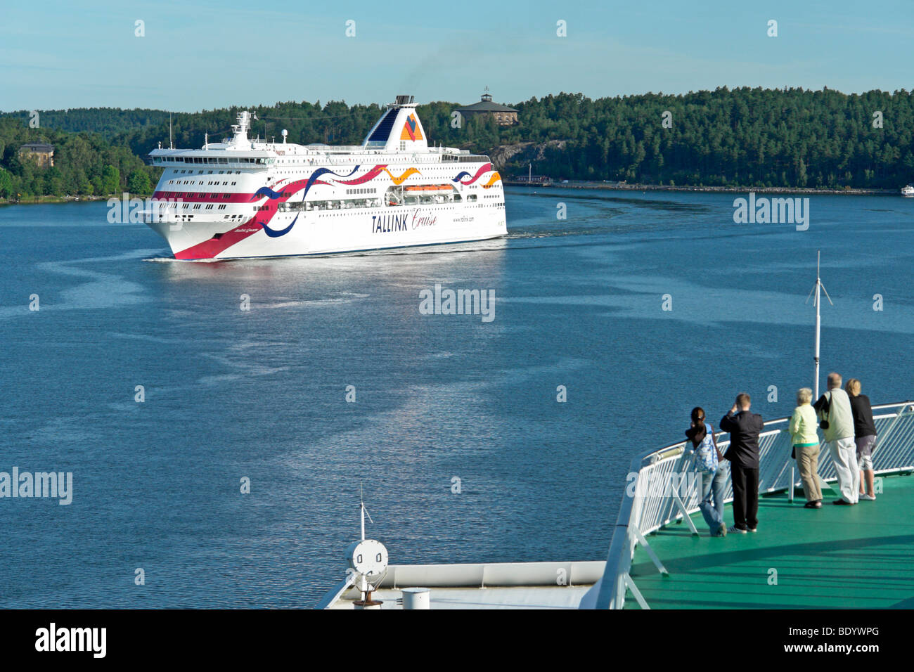 The Tallink Baltic cruise ferry Baltic Queen sails through the Stockholm Archipelago in Sweden viewed from the Silja - Stock Image
