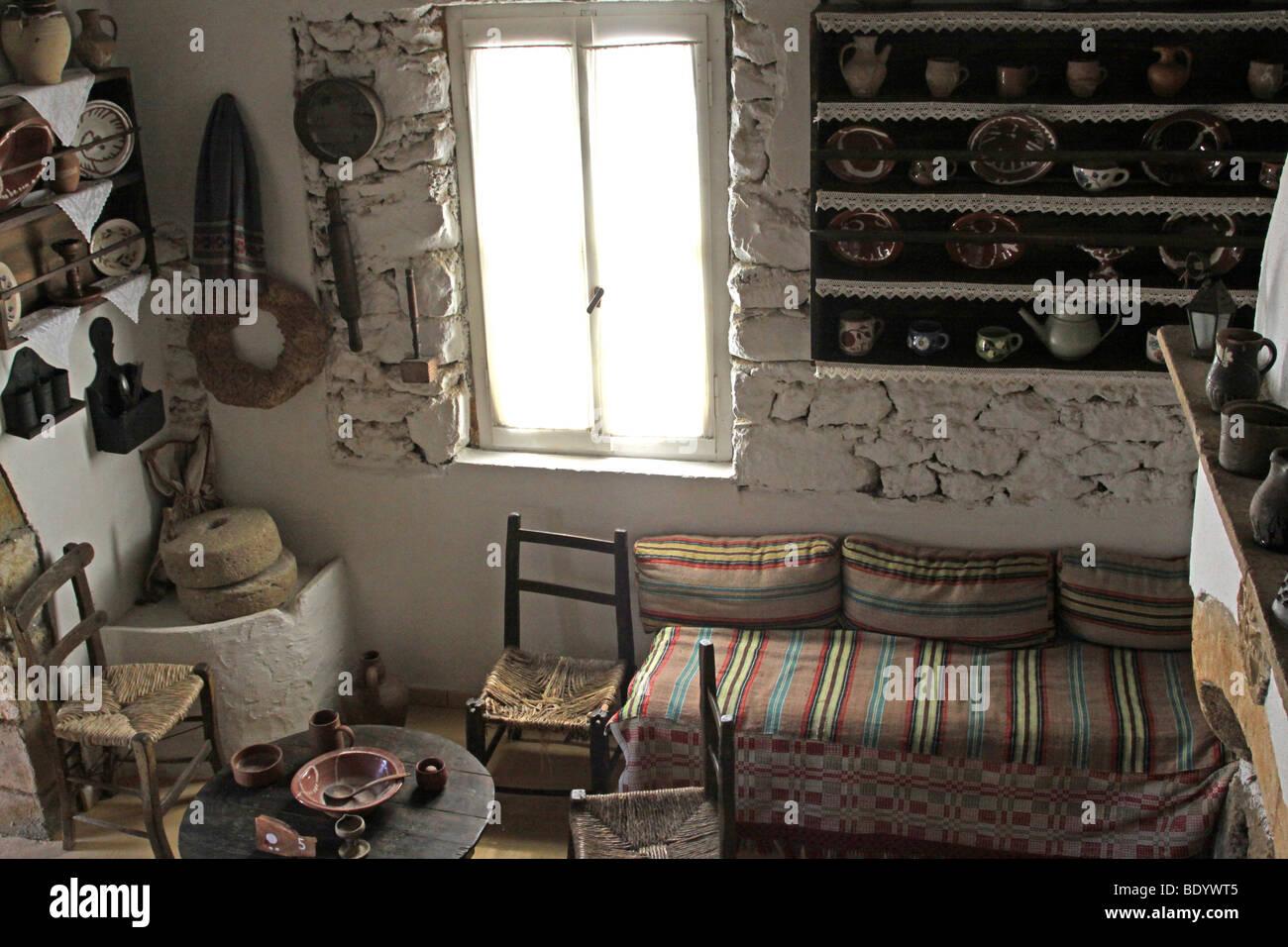 Middle Class Home, Lychnostatis Open Air Museum, Museum Of The Traditional  Cretan Life, Hersonissos, Crete, Greece, Europe