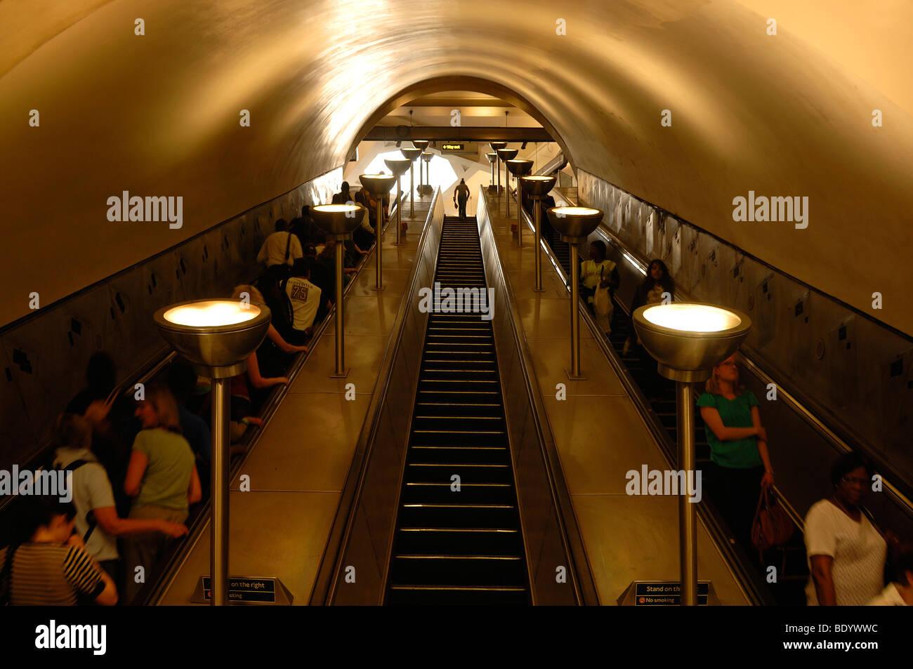 Escalators in the subway, Tooting Broadway, London, England, United Kingdom, Europe - Stock Image
