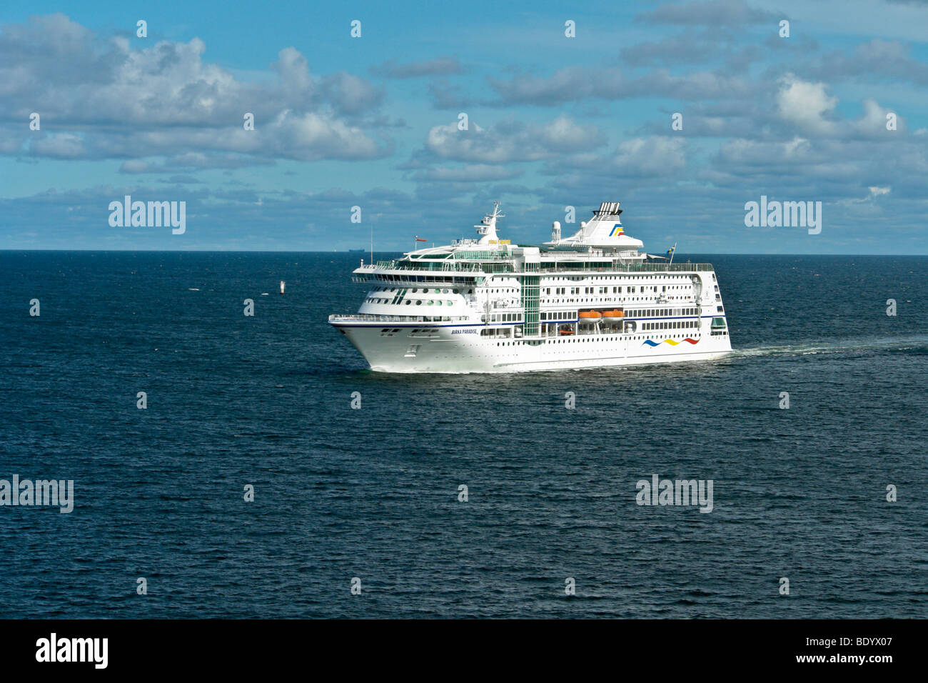 The Birka Line Baltic cruise ship Birka Paradise crosses the Aaland Sea in the Baltic from Mariehamn to Stockholm Stock Photo