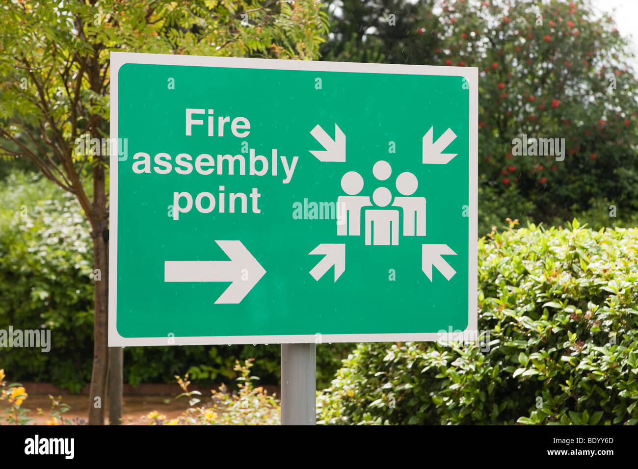 Hotel fire safety assembly point sign UK 2009 - Stock Image