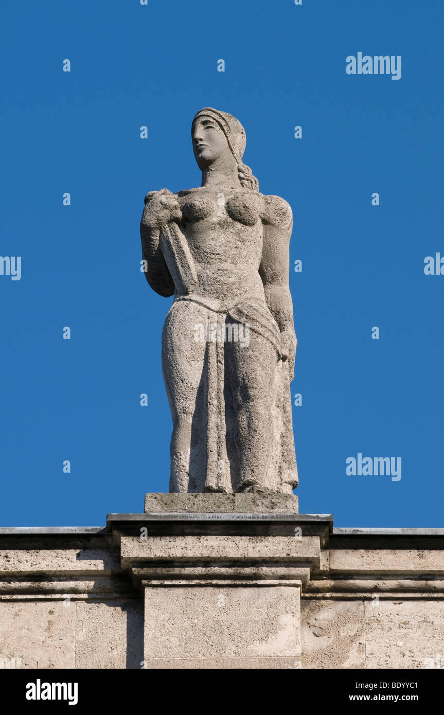 Bonn University main building, female statue located on the front side facing the city, North Rhine-Westphalia, - Stock Image