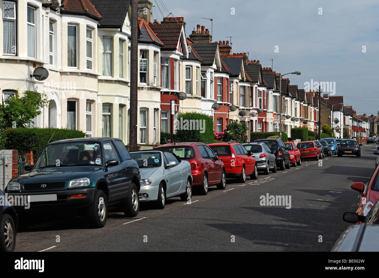 Typical English terraced houses, Undine Street, Tooting Broadway, London, England, Europe Stock Photo