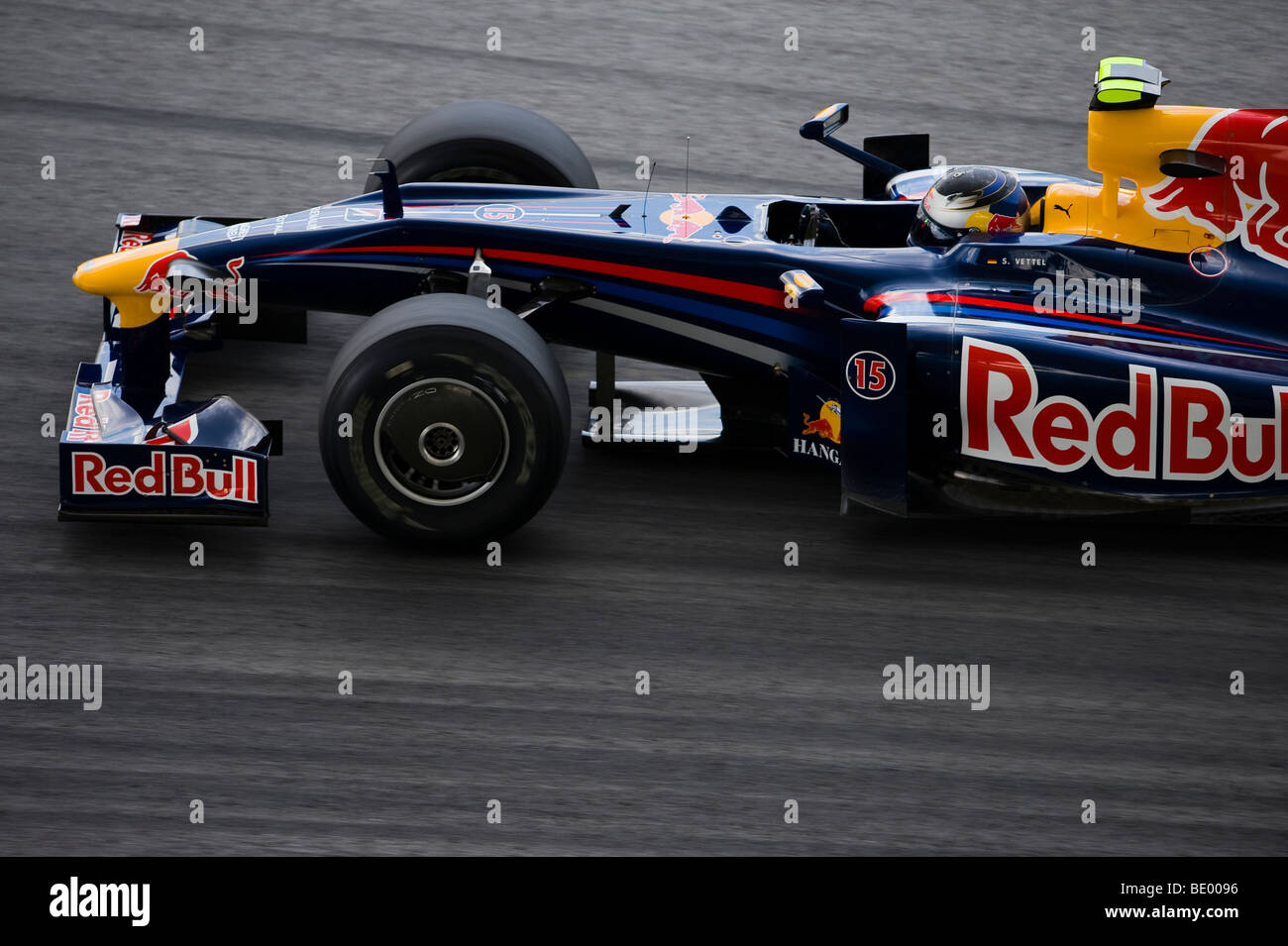 Red Bull Racing driver Sebastian Vettel of Germany steers his car during the 2009 Fia Formula One Malasyan Grand - Stock Image