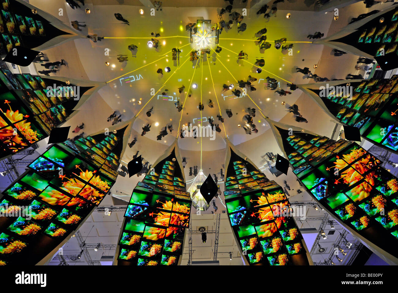Light show in the exhibition hall of Samsung at the IFA Internationale Funkaustellung consumer electronics fair - Stock Image