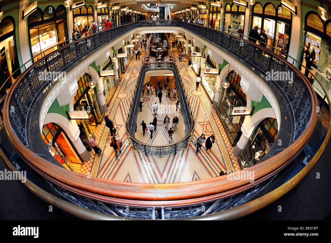 Balustrades, arcades, boutiques, QVB, Queen Victoria Building, shopping centre, Sydney, New South Wales, Australia - Stock Image