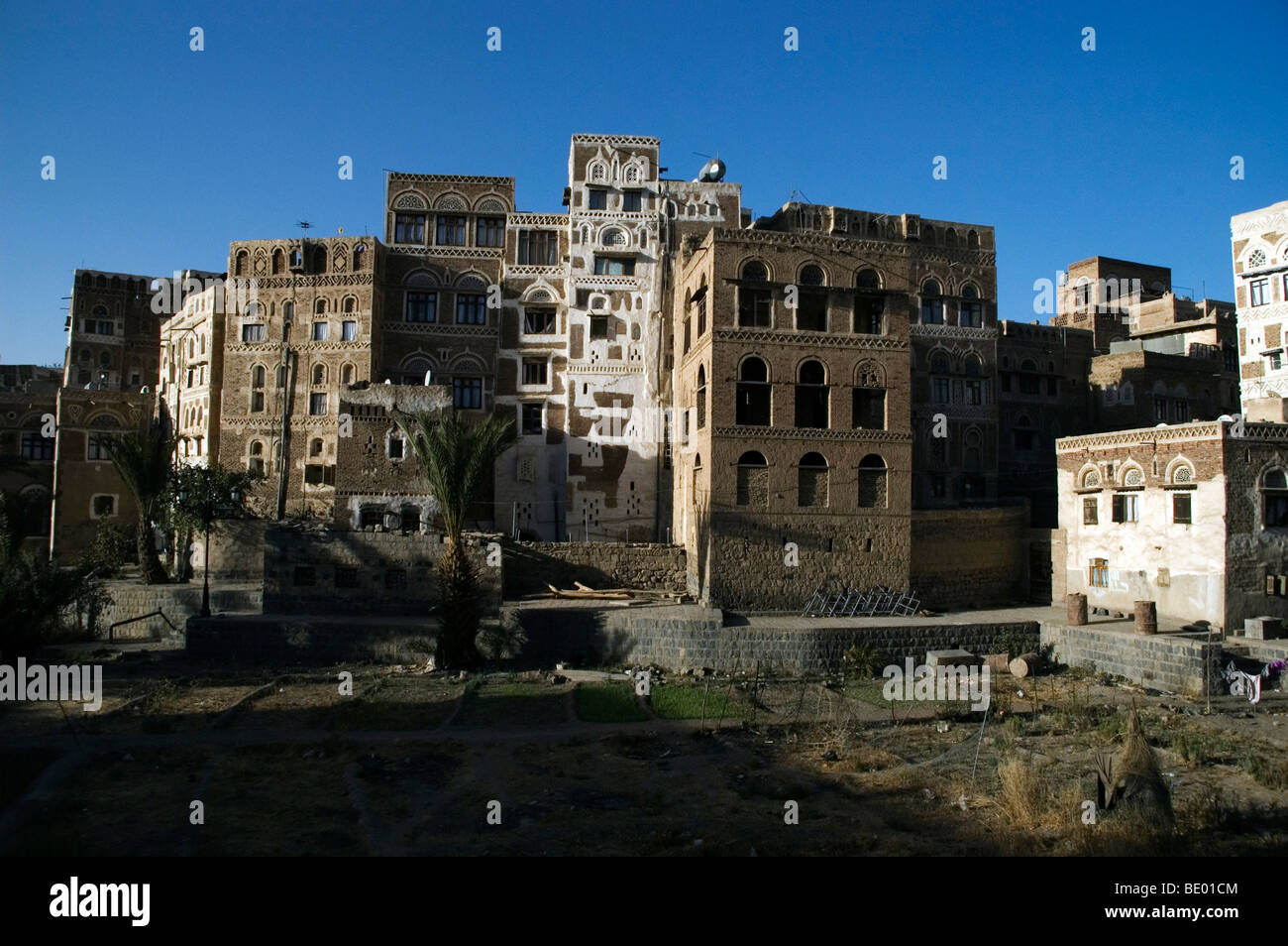 Old tower houses and traditional architecture in the Old City of Sana'a, Yemen. Stock Photo